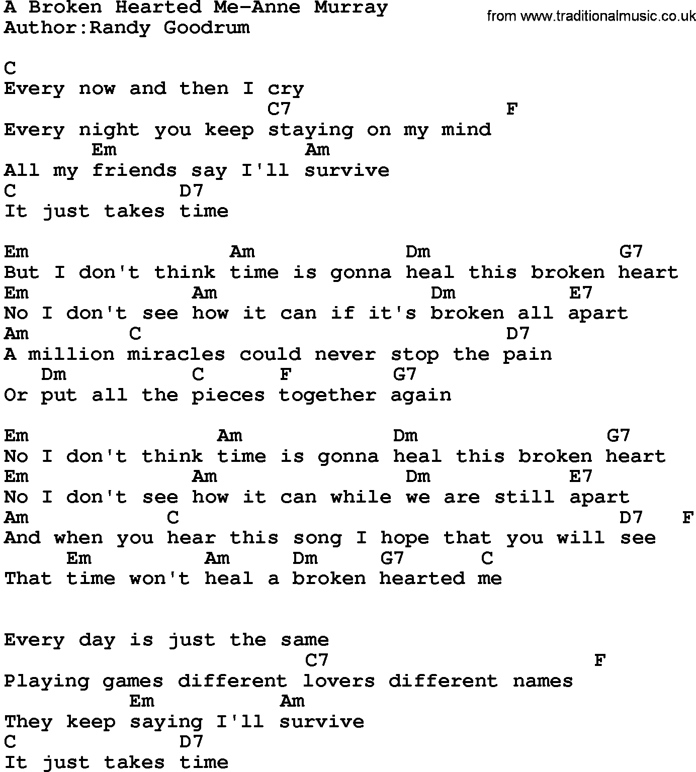 Country Musica Broken Hearted Me Anne Murray Lyrics And Chords