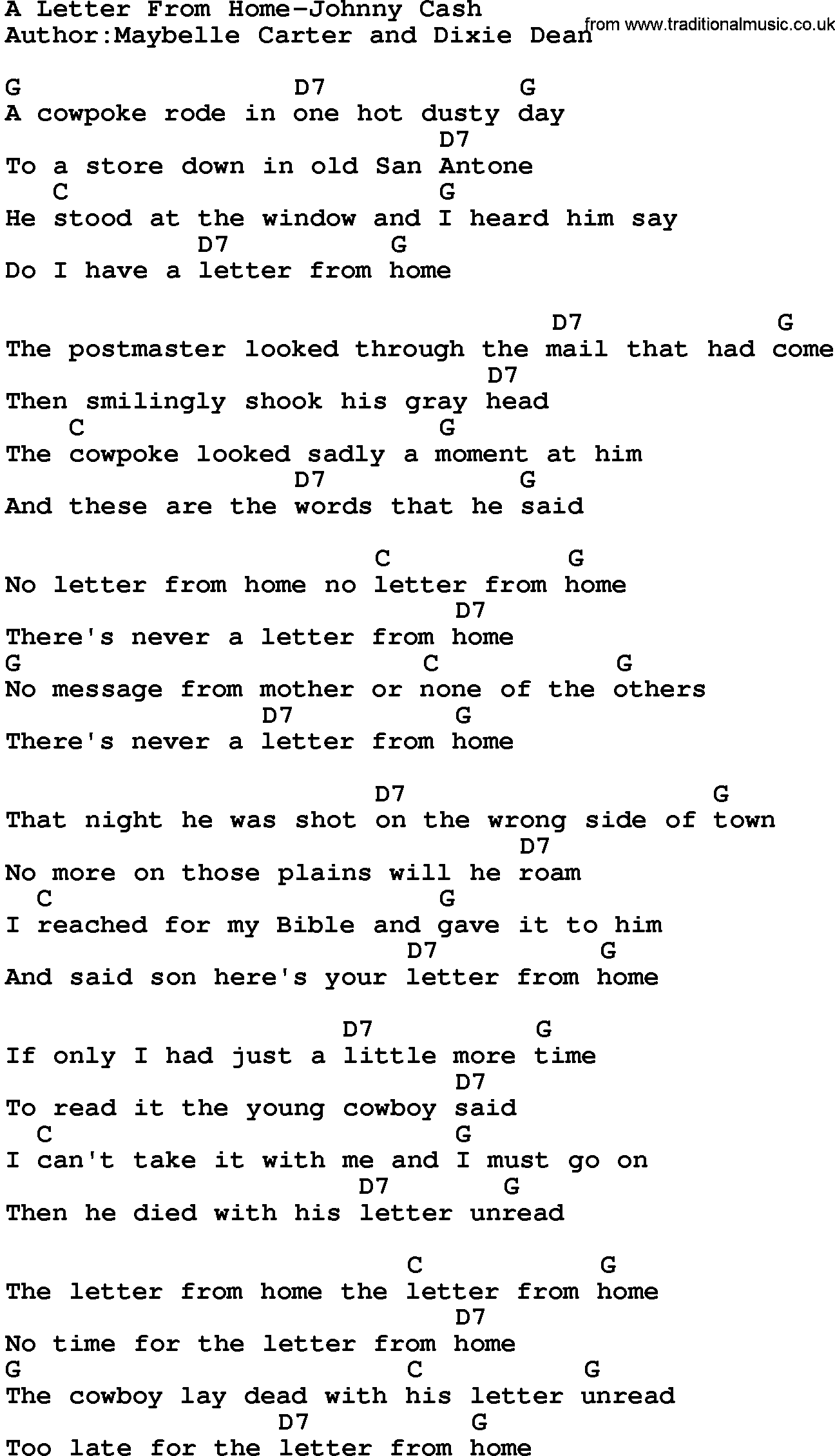 Download A Letter From Home-Johnny Cash lyrics and chords as PDF file ...