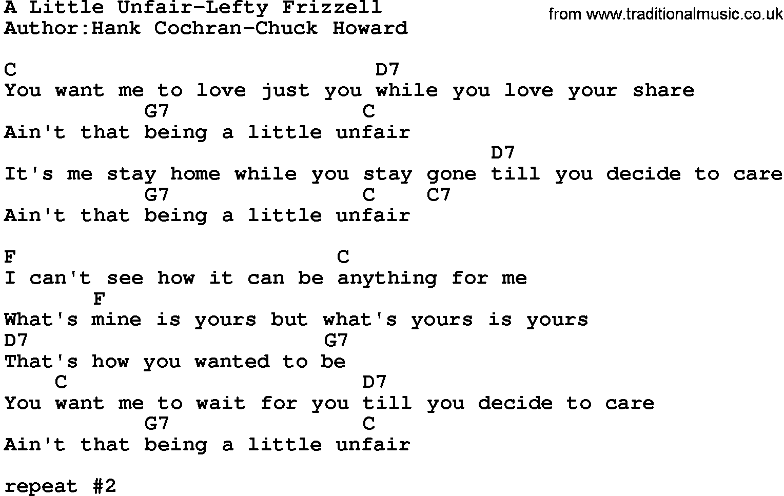 Country musica little unfair lefty frizzell lyrics and chords hexwebz Choice Image