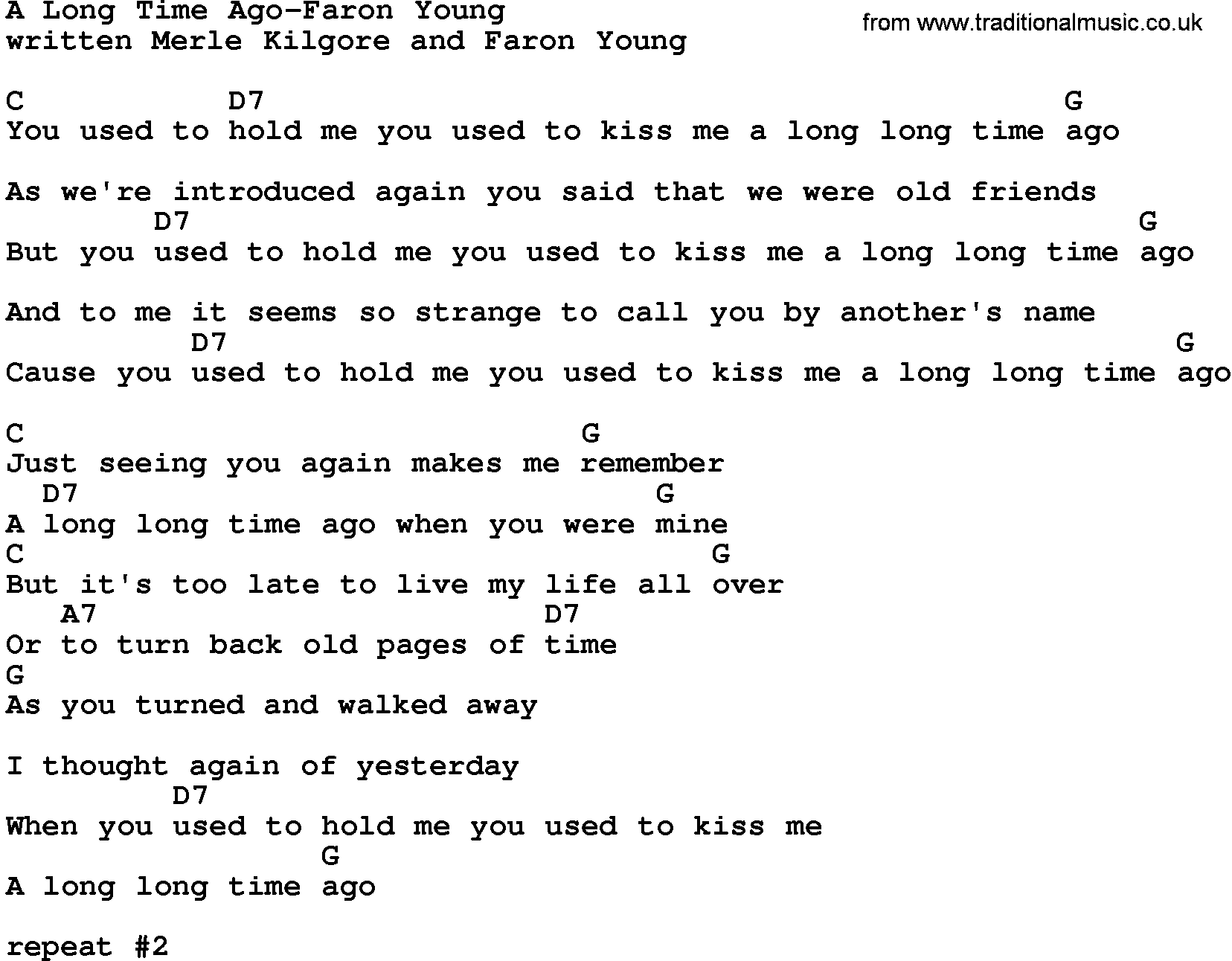 Country musica long time ago faron young lyrics and chords hexwebz Image collections