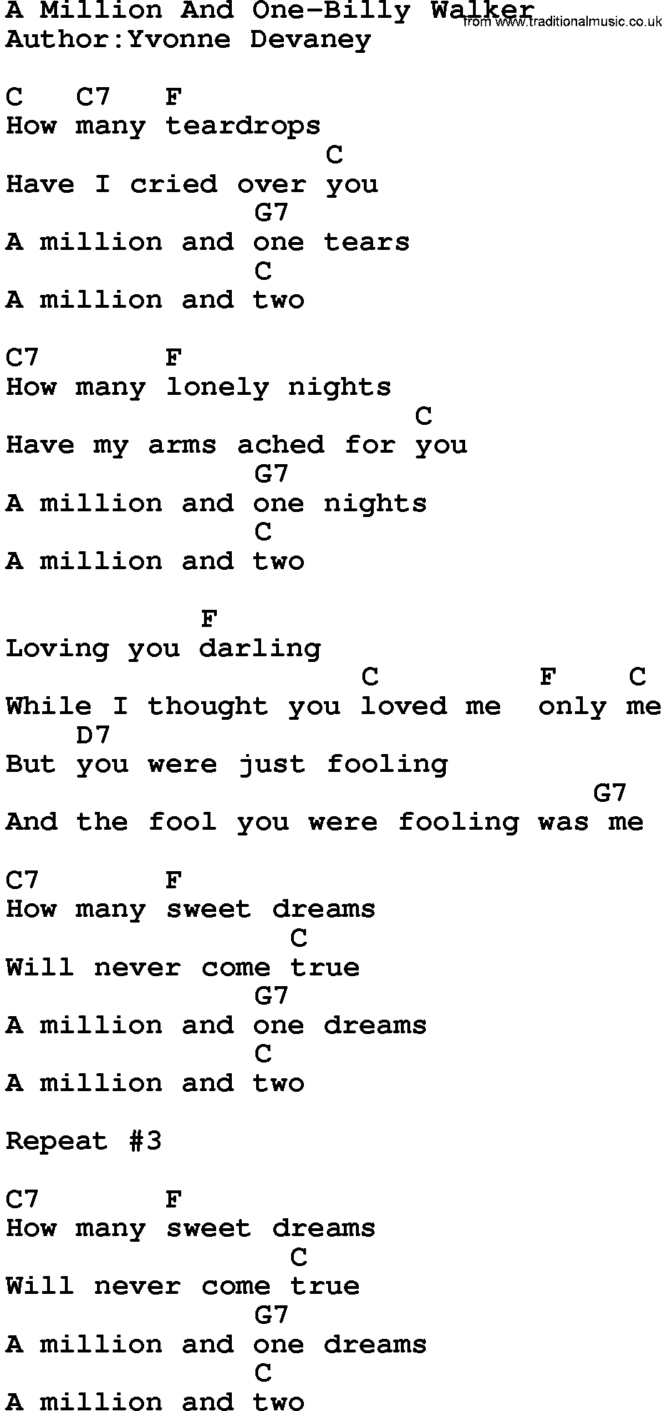 graphic relating to A Million Dreams Lyrics Printable known as Place Audio:A Million And Just one-Billy Walker Lyrics and Chords