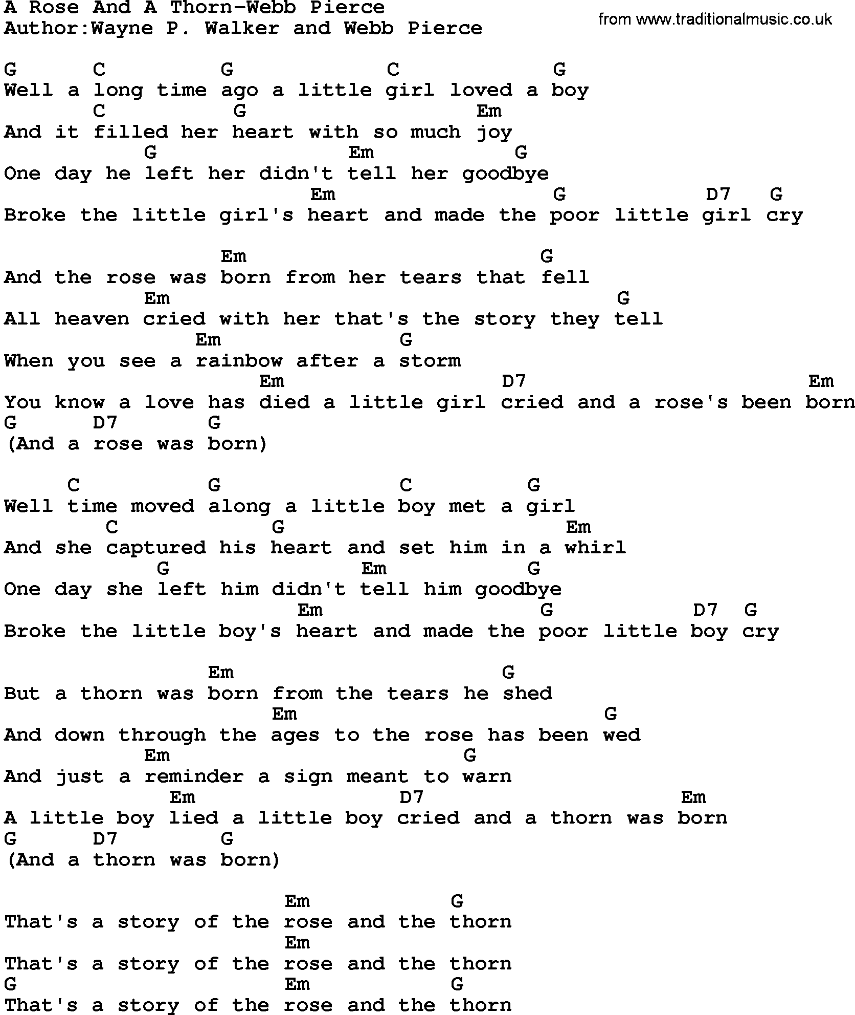 Country MusicA Rose And A Thorn Webb Pierce Lyrics and Chords