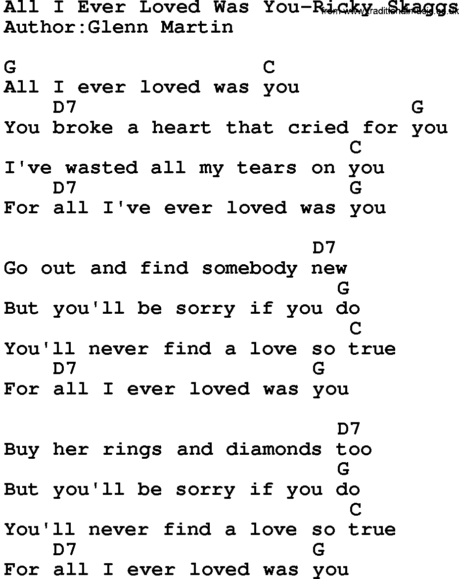 All I Ever Loved Was You – Bluegrass Lyrics