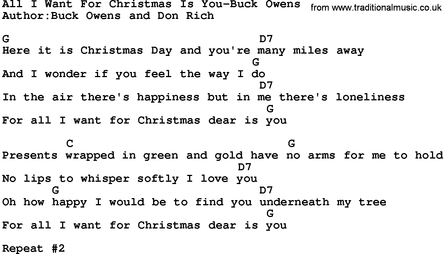 Lyrics All I Want For Christmas.Country Music All I Want For Christmas Is You Buck Owens