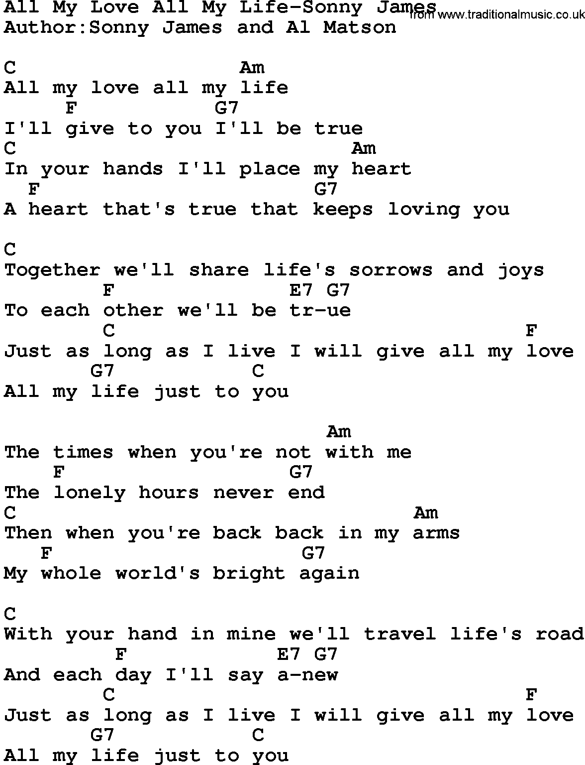 Country Musicall My Love All My Life Sonny James Lyrics And Chords
