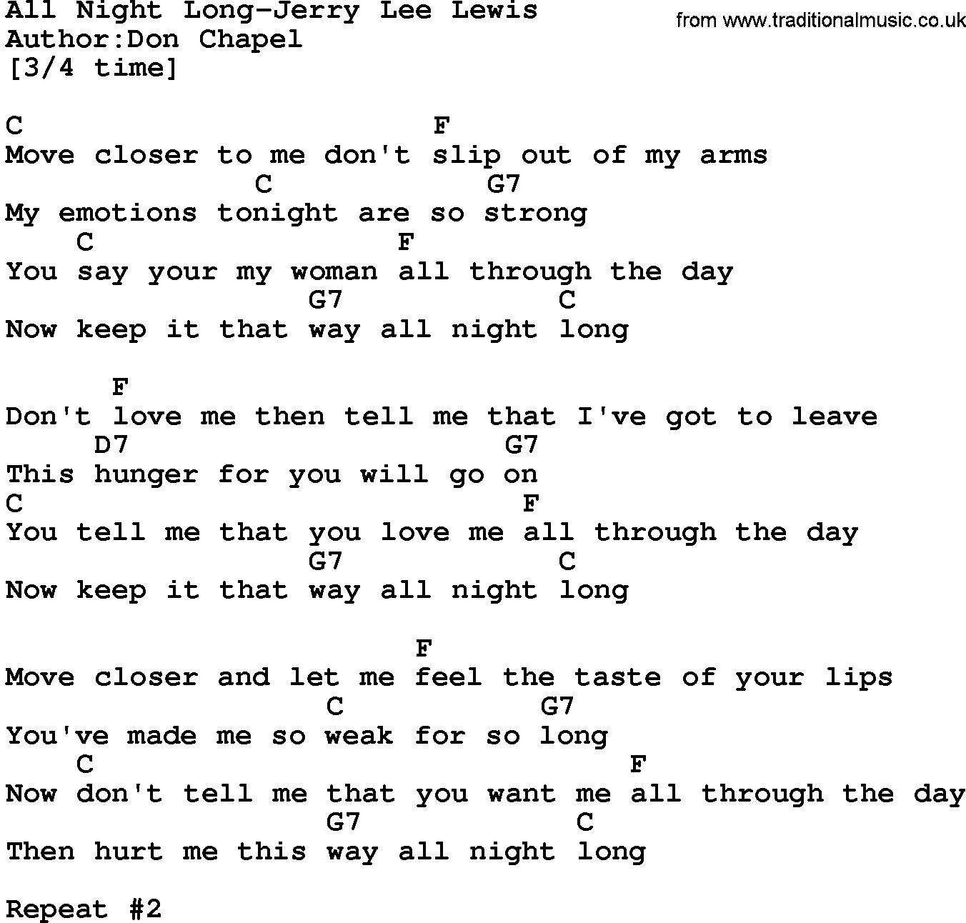 Country MusicAll Night Long Jerry Lee Lewis Lyrics and Chords