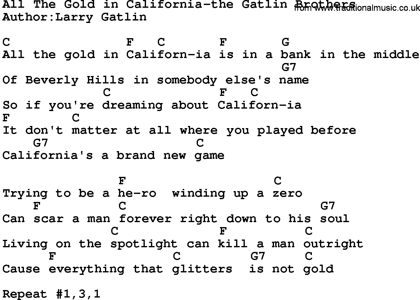Country MusicAll The Gold In California The Gatlin Brothers ...