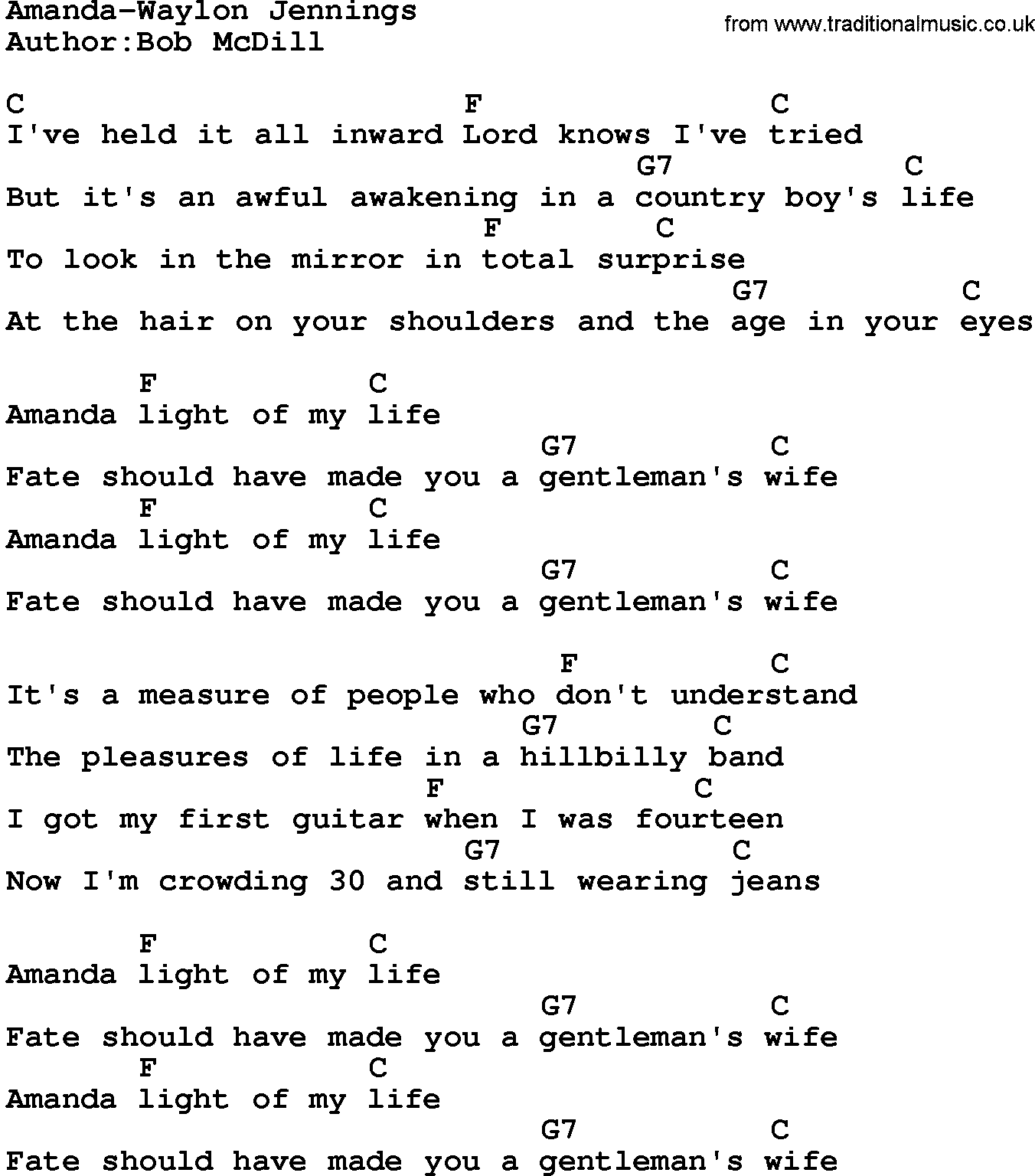 Country Musicamanda Waylon Jennings Lyrics And Chords