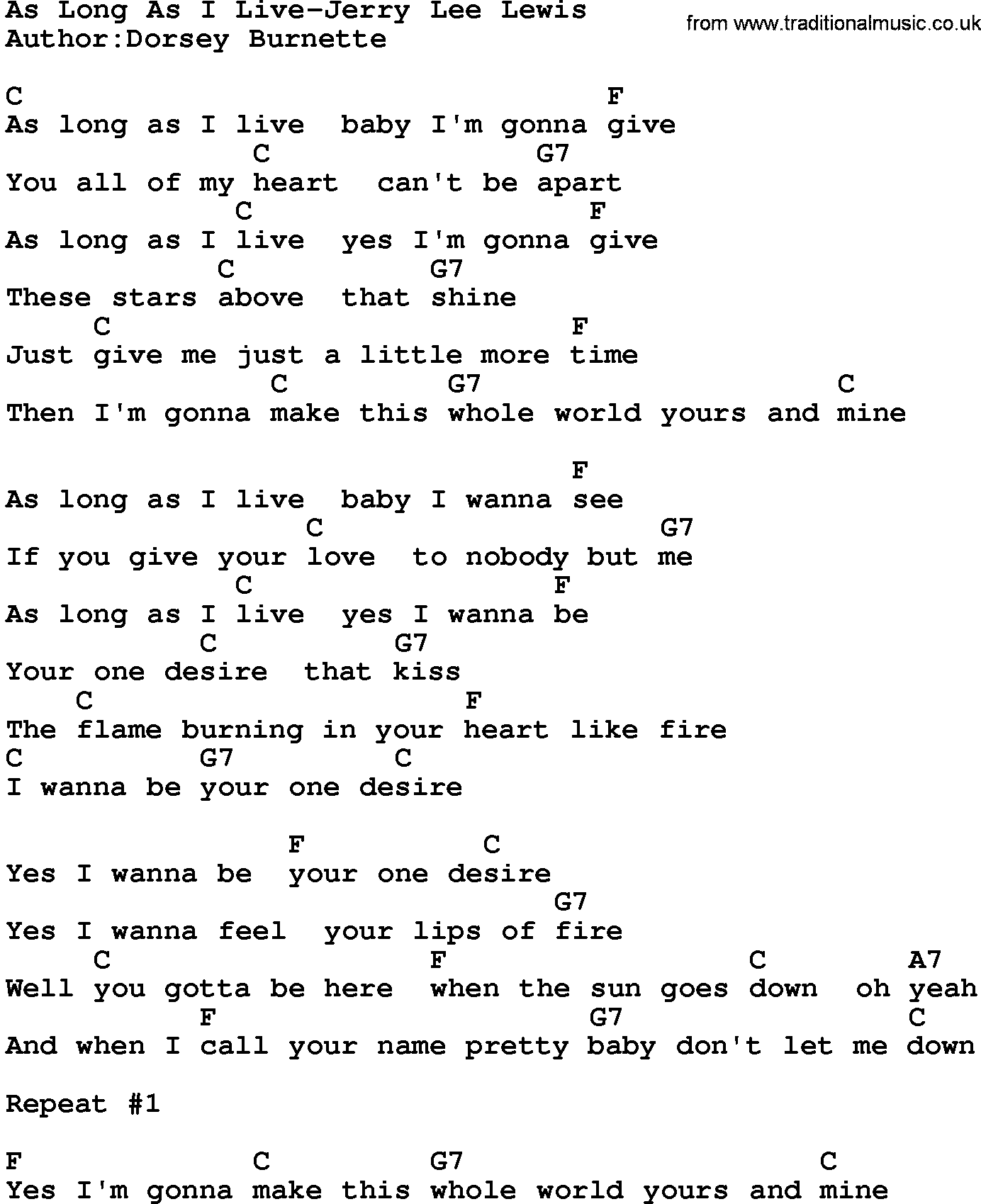 Country Musicas Long As I Live Jerry Lee Lewis Lyrics And Chords