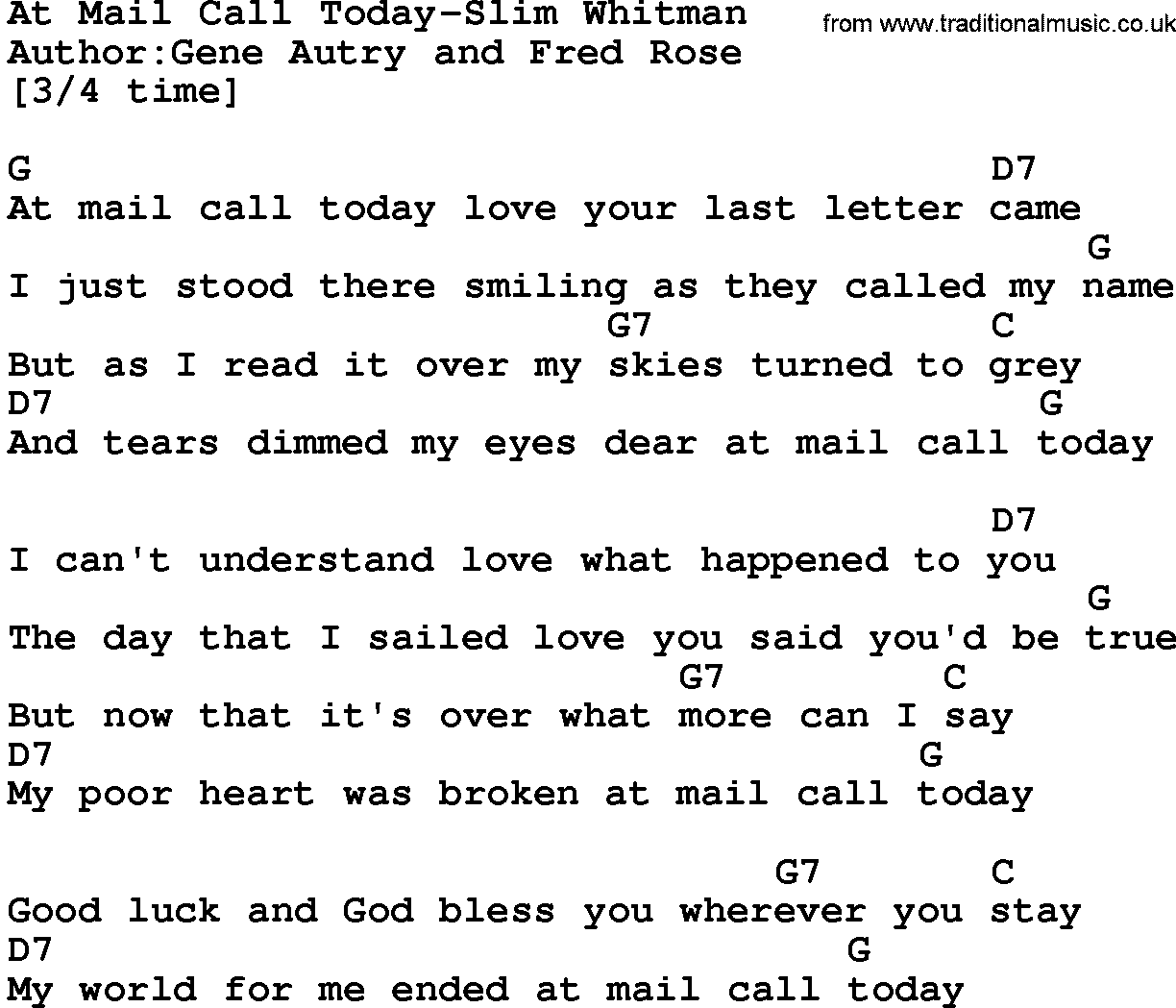 Country music at mail call today slim whitman lyrics and chords - Theusd house built in six weeks a young mans gut check ...