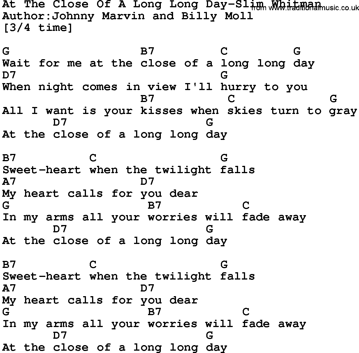 Country musicat the close of a long long day slim whitman lyrics country musicat the close of a long long day slim whitman lyrics and chords hexwebz Images