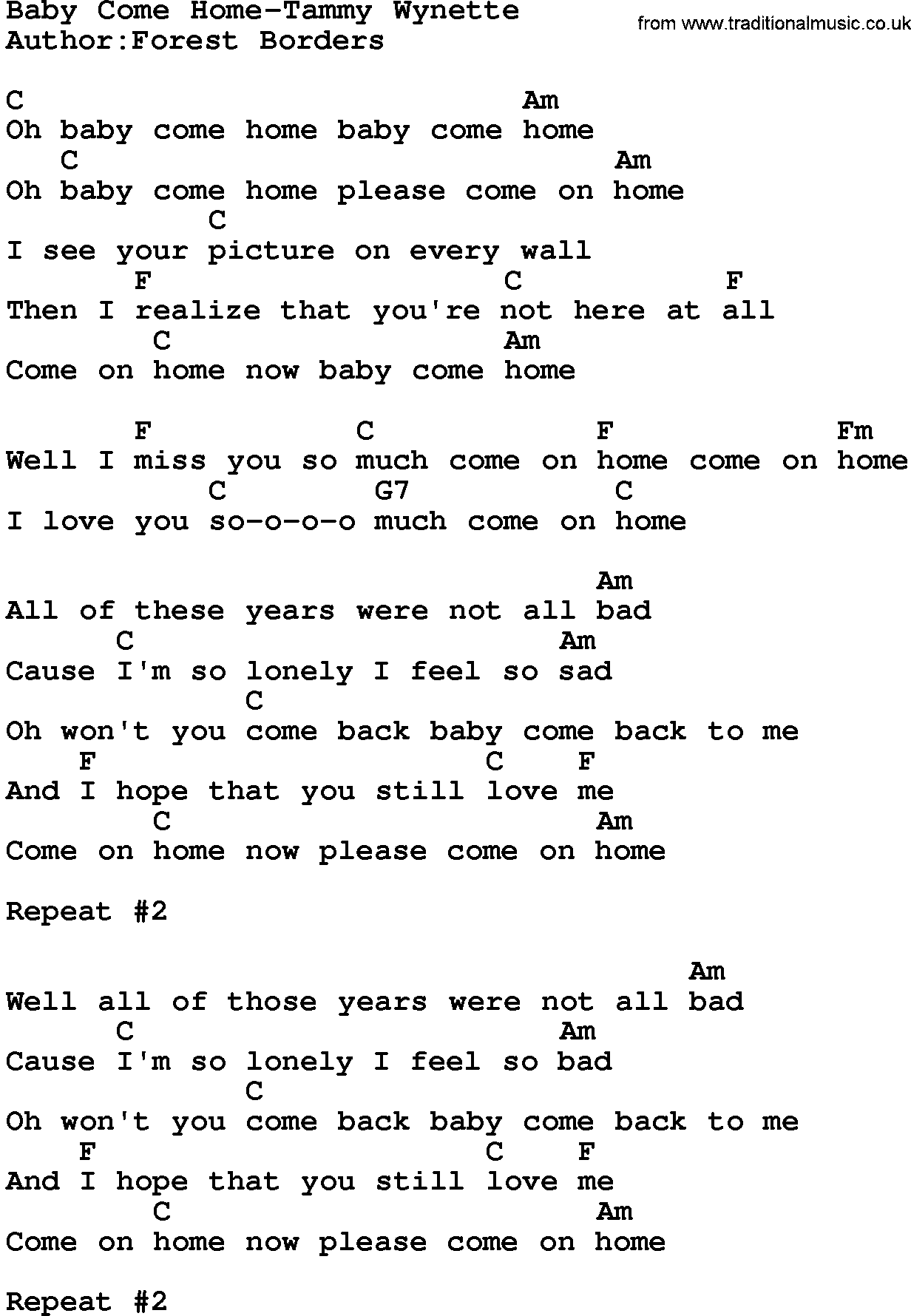 Country Musicbaby Come Home Tammy Wynette Lyrics And Chords