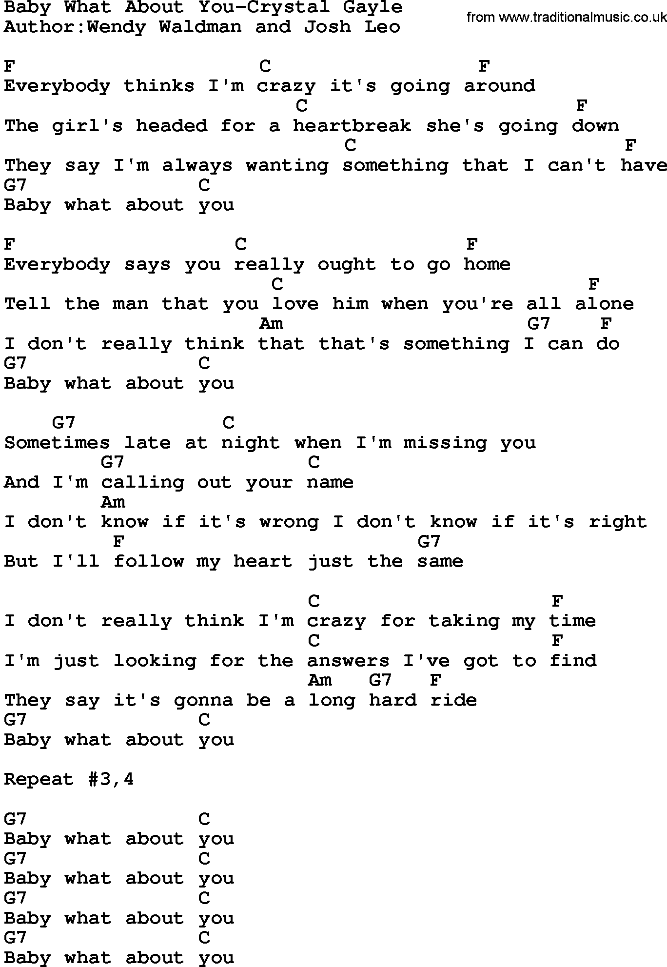 Country MusicBaby What About You Crystal Gayle Lyrics and Chords