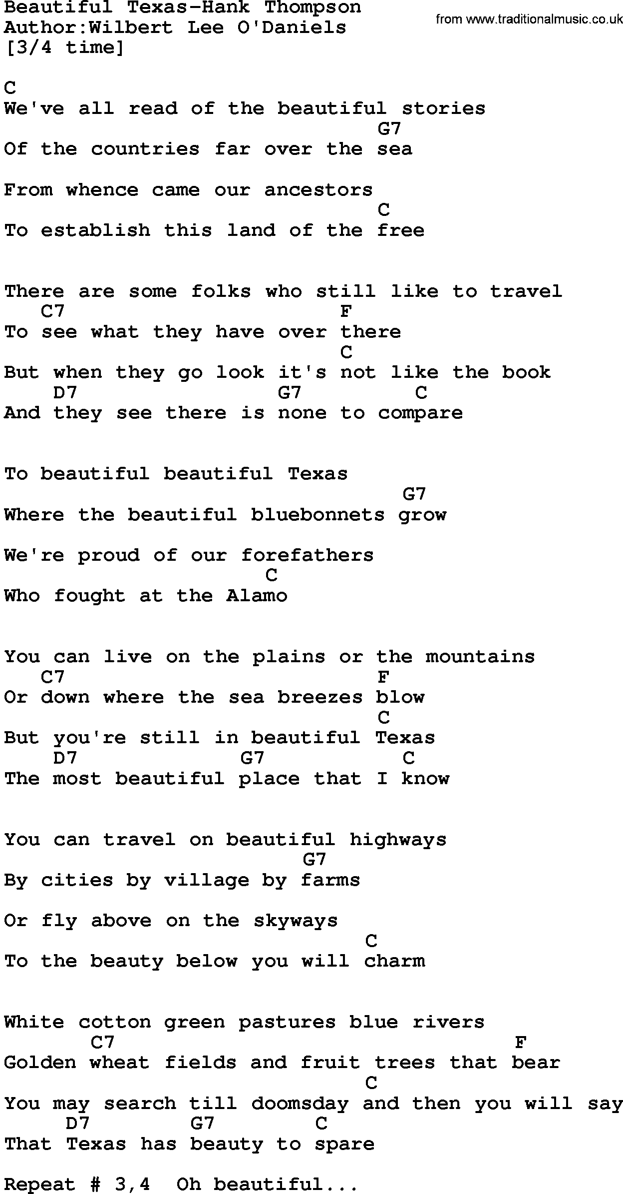Country Music Beautiful Texas Hank Thompson Lyrics And Chords Grow as we go songtext. traditional music library