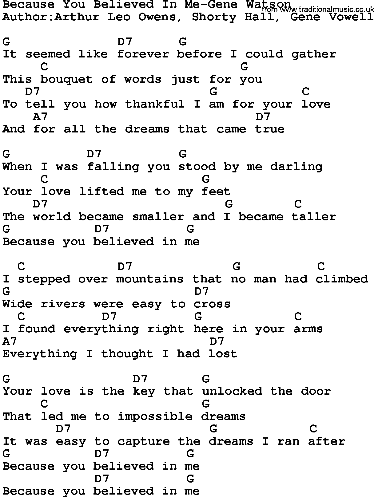 Country musicbecause you believed in me gene watson lyrics and chords hexwebz Images