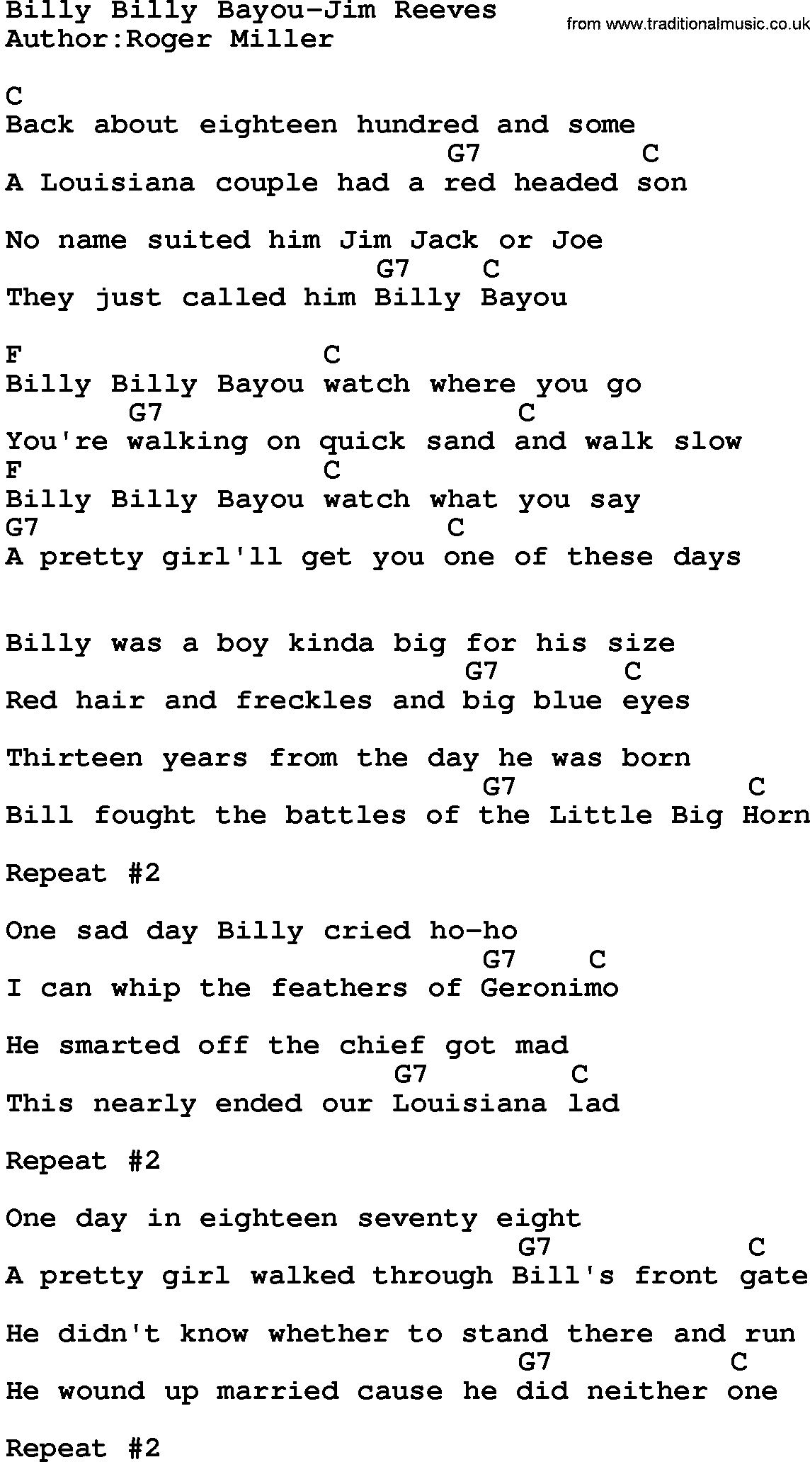Country Musicbilly Billy Bayou Jim Reeves Lyrics And Chords