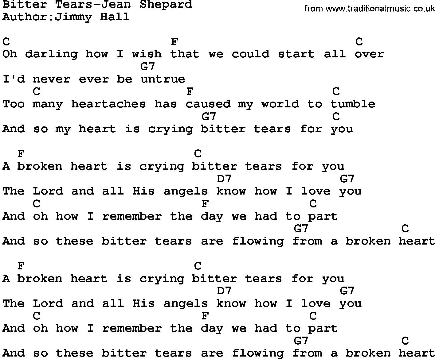 Country Musicbitter Tears Jean Shepard Lyrics And Chords