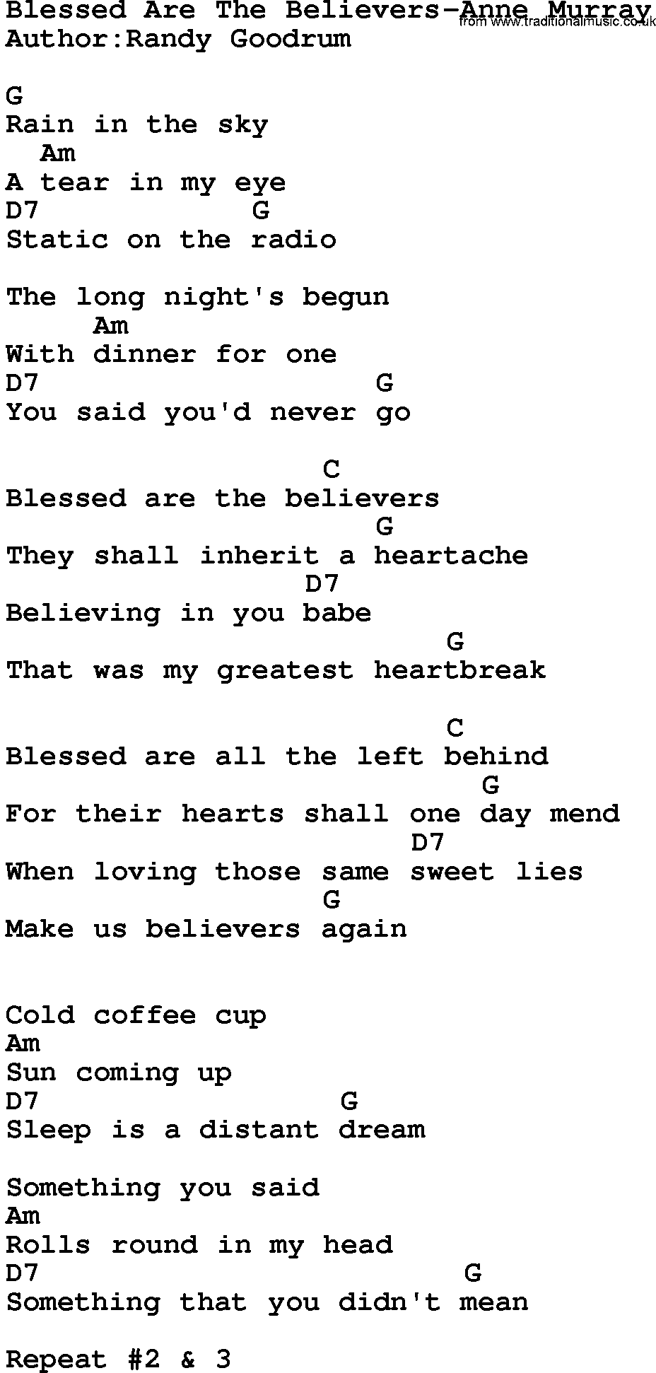 Country Music:Blessed Are The Believers-Anne Murray Lyrics