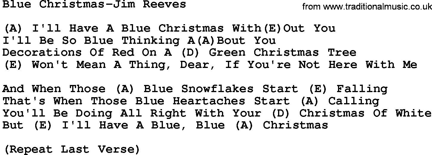 Country Music:Blue Christmas-Jim Reeves Lyrics and Chords