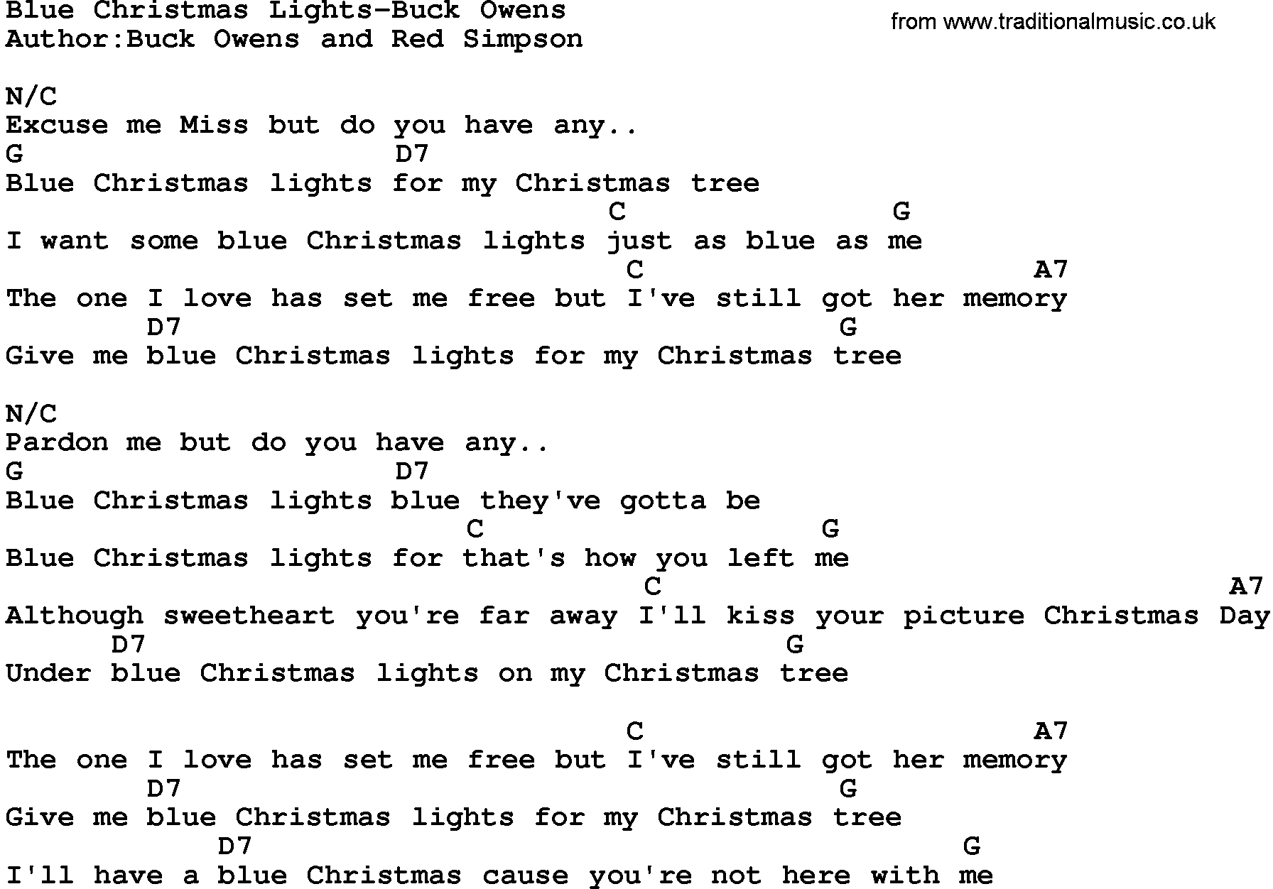 Country Music:Blue Christmas Lights-Buck Owens Lyrics and Chords