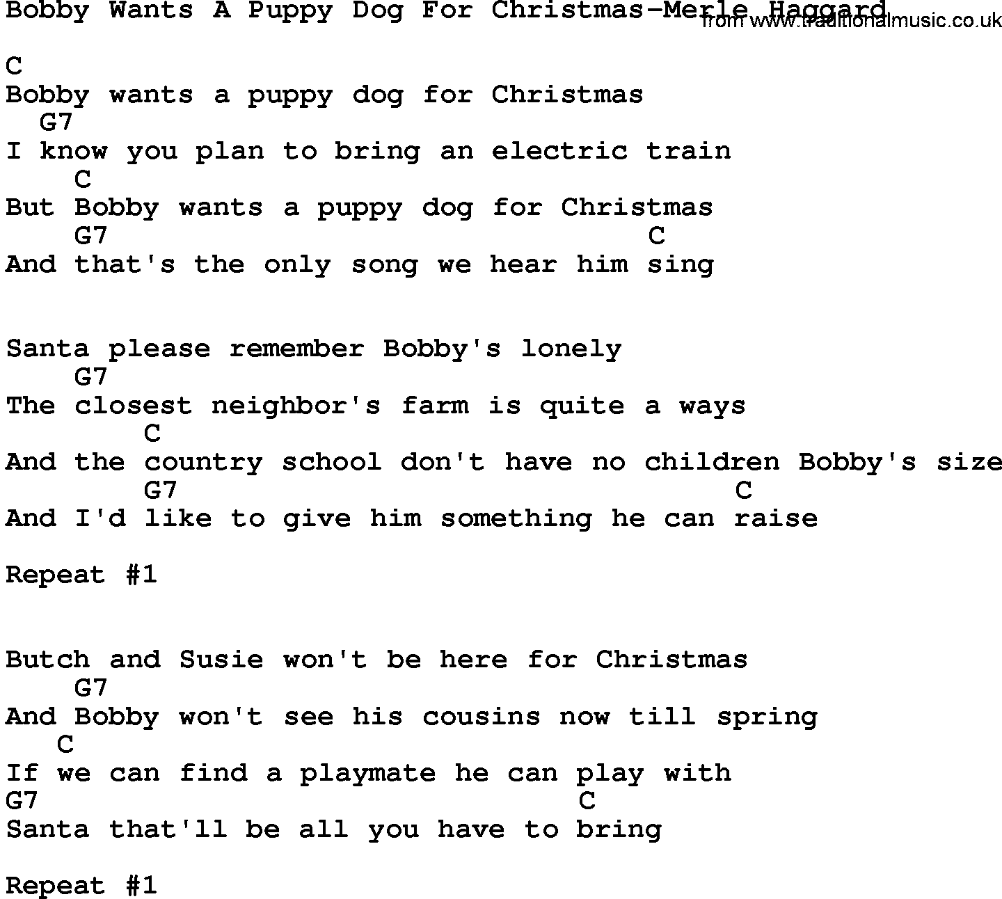 Bobby Wants A Puppy Dog For Christmas Chords