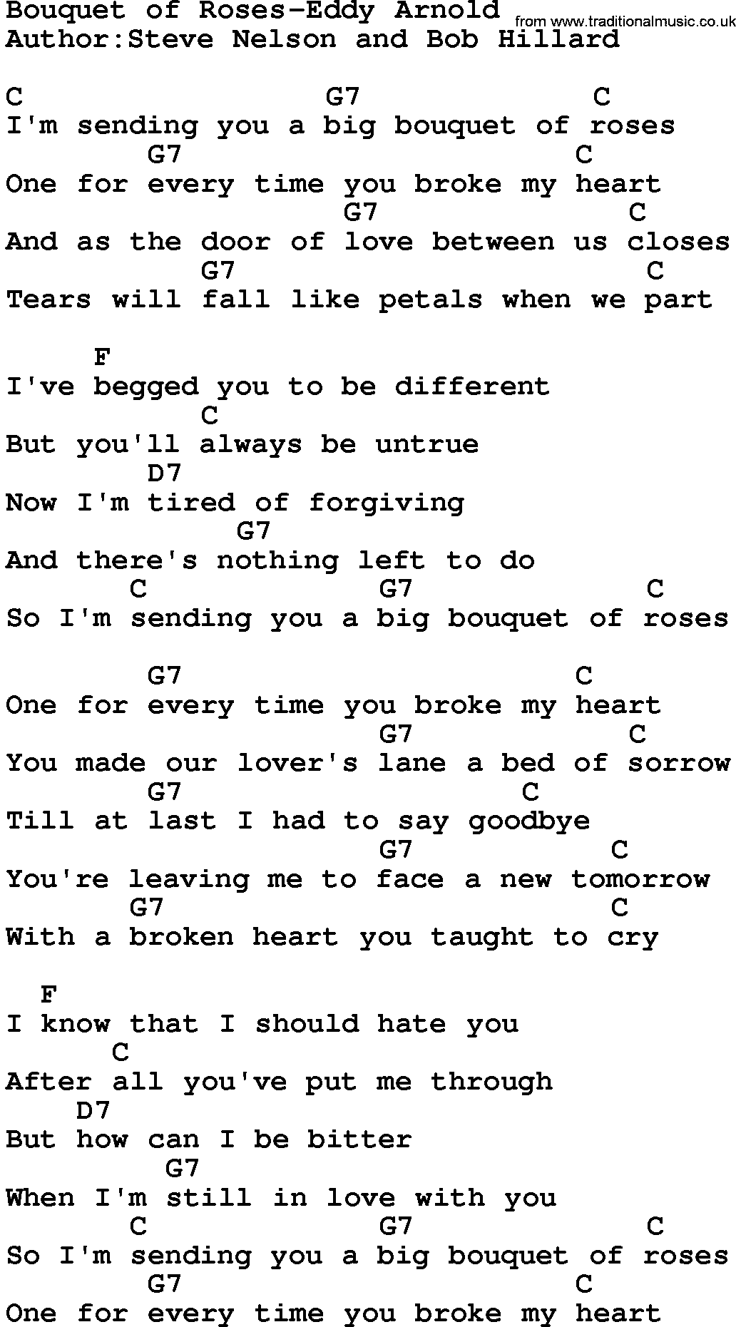 Country Musicbouquet Of Roses Eddy Arnold Lyrics And Chords