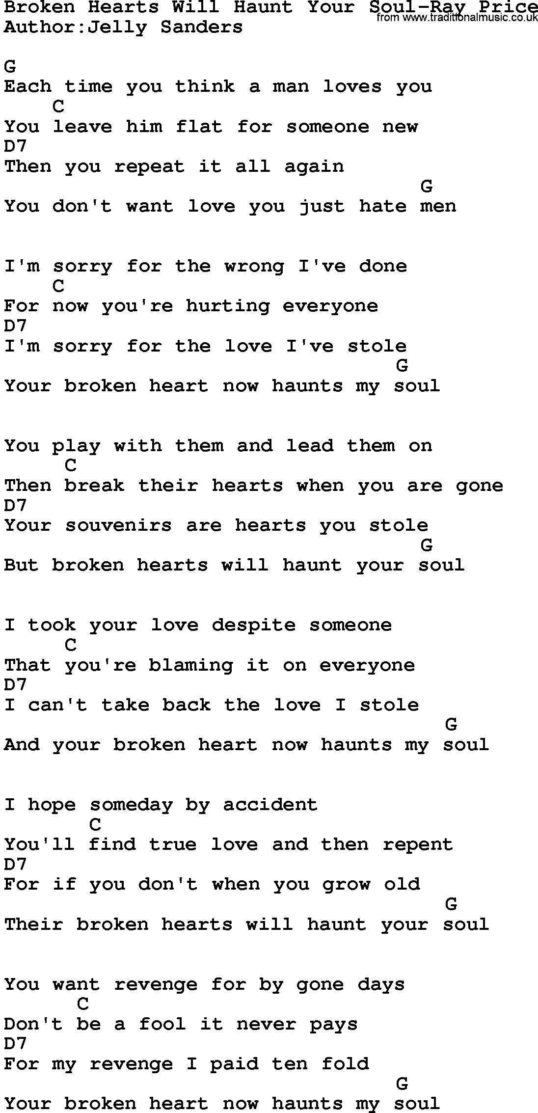 Country Music:Broken Hearts Will Haunt Your Soul-Ray Price