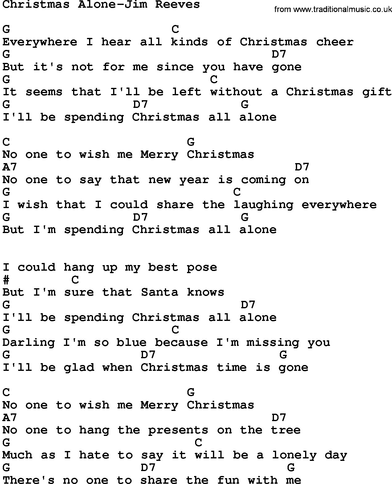Country Music:Christmas Alone-Jim Reeves Lyrics and Chords