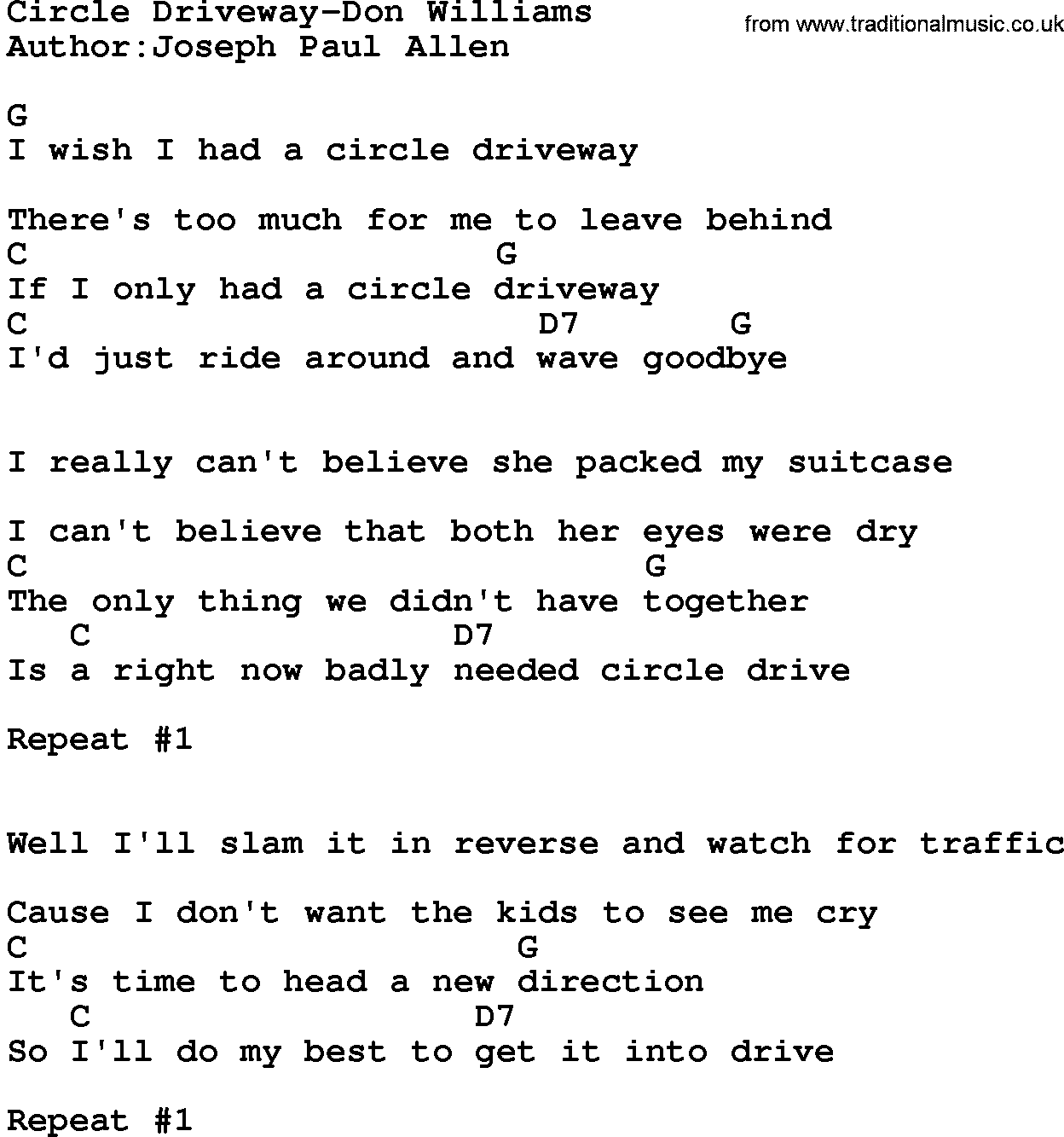 Download circle driveway don williams lyrics and chords as pdf file