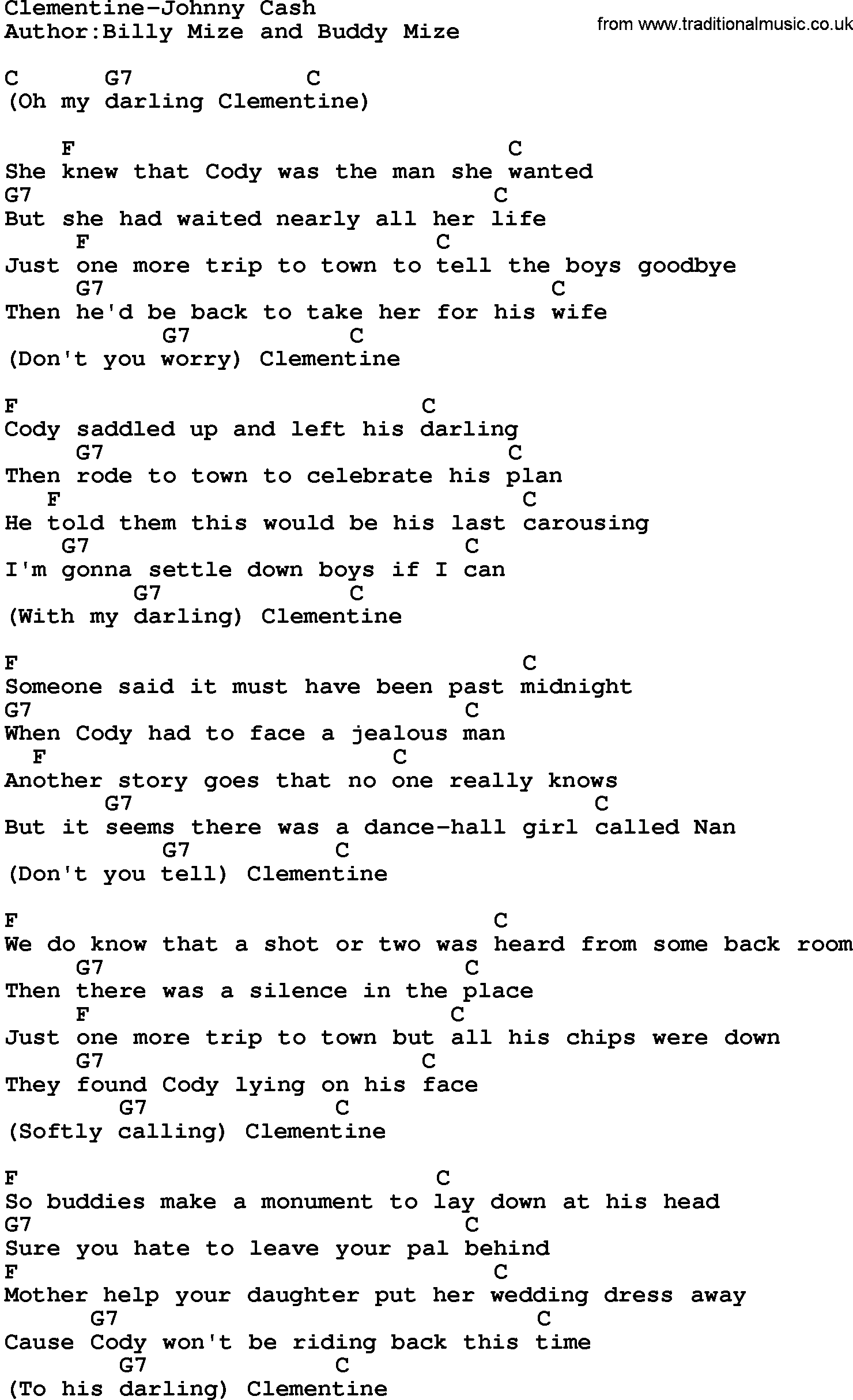 Country Musicclementine Johnny Cash Lyrics And Chords
