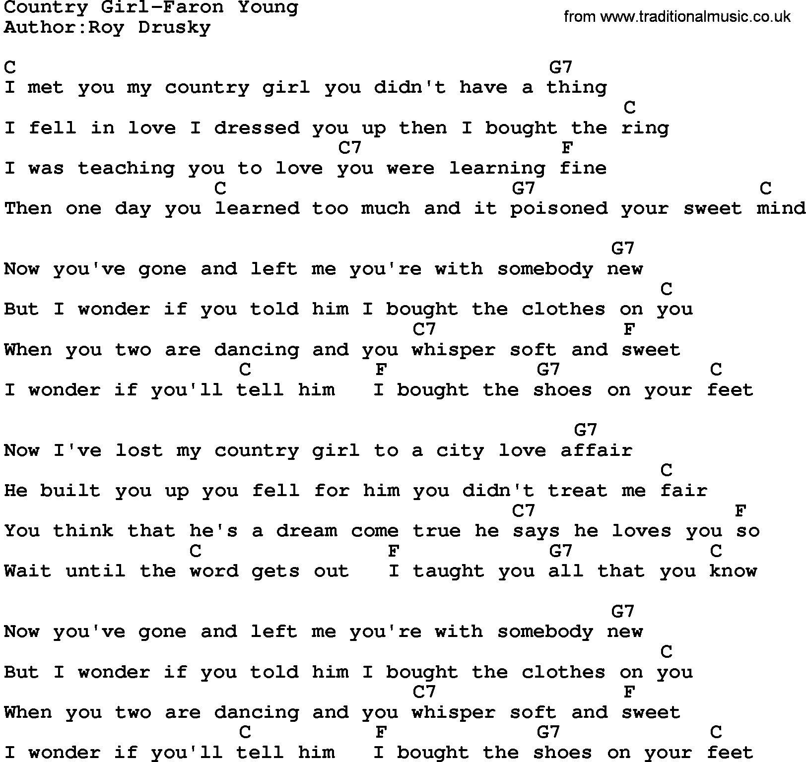 Country musiccountry girl faron young lyrics and chords hexwebz Image collections