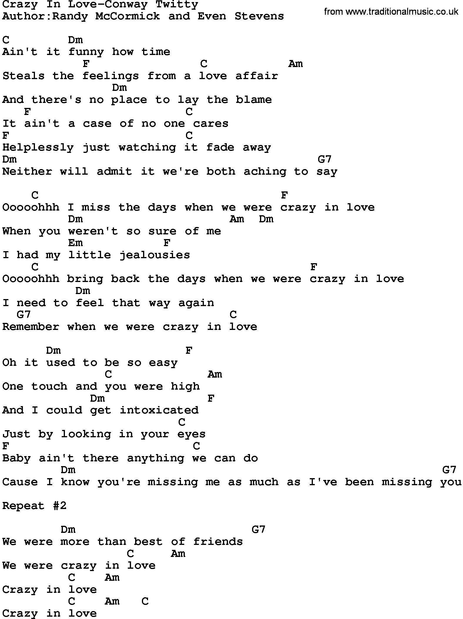 Country musiccrazy in love conway twitty lyrics and chords hexwebz Choice Image