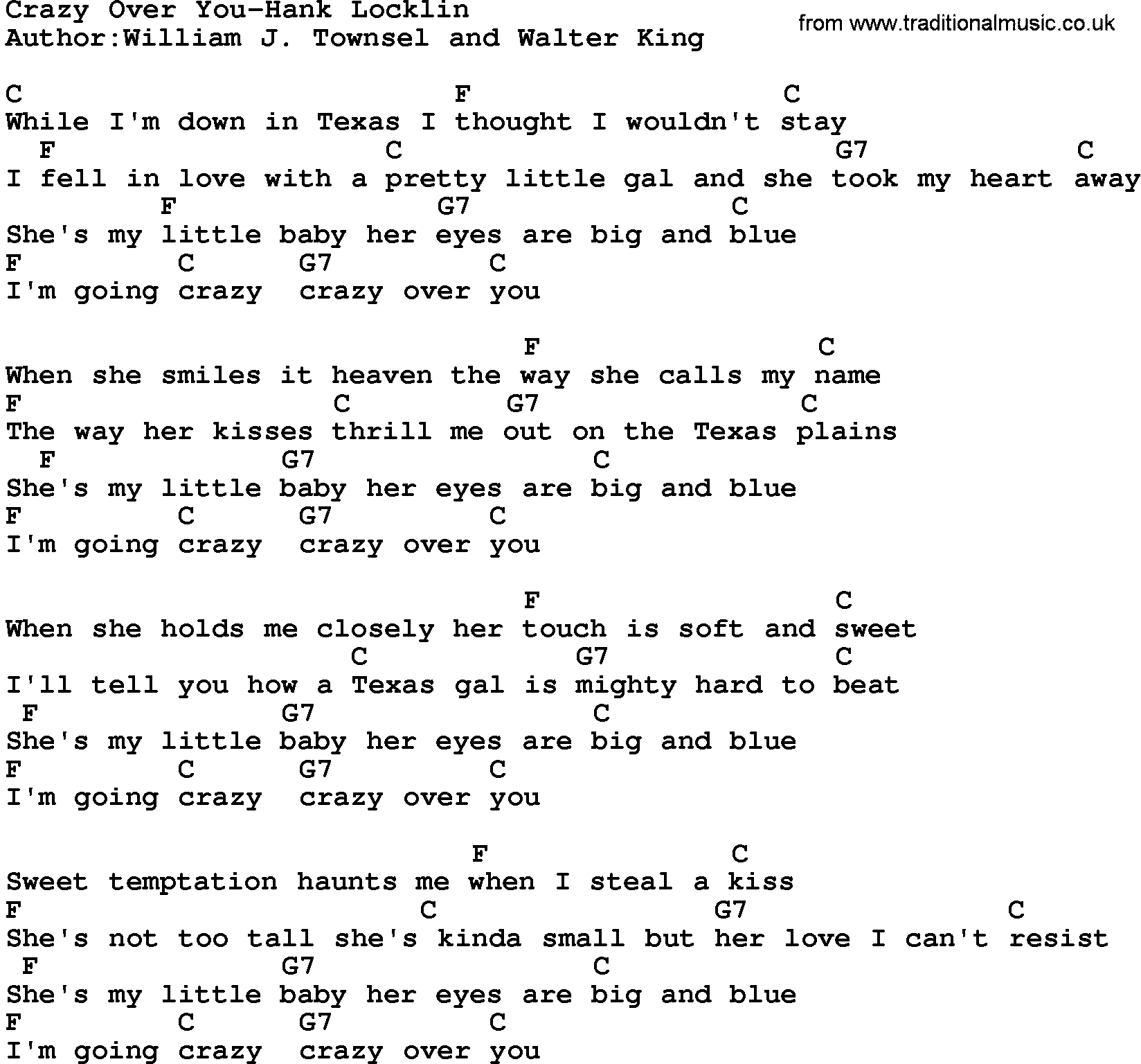 Country Musiccrazy Over You Hank Locklin Lyrics And Chords
