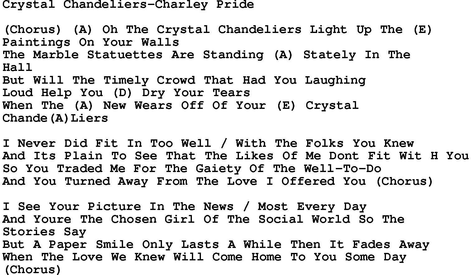 Country musiccrystal chandeliers charley pride lyrics and chords arubaitofo Choice Image