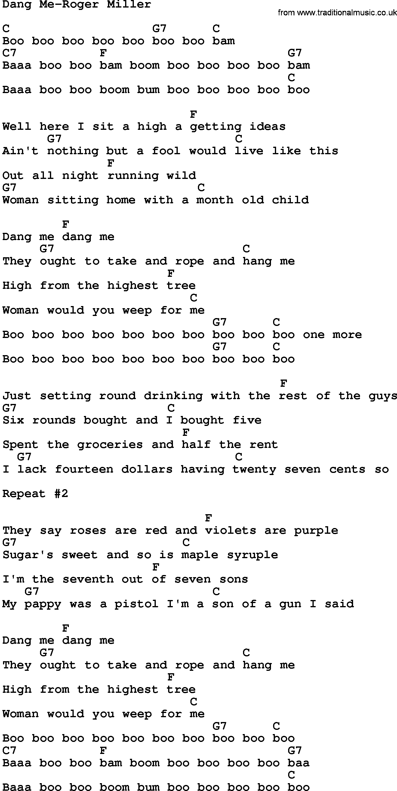 Country Musicdang Me Roger Miller Lyrics And Chords