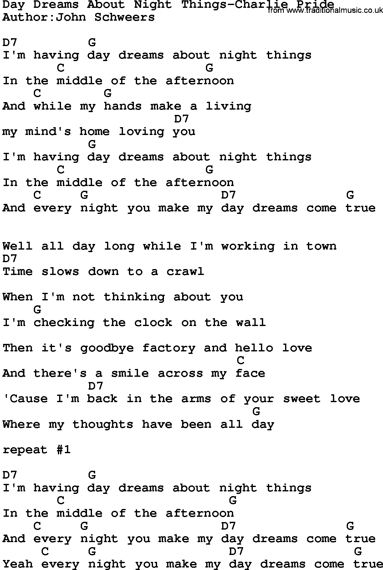 Country Musicday Dreams About Night Things Charlie Pride Lyrics And