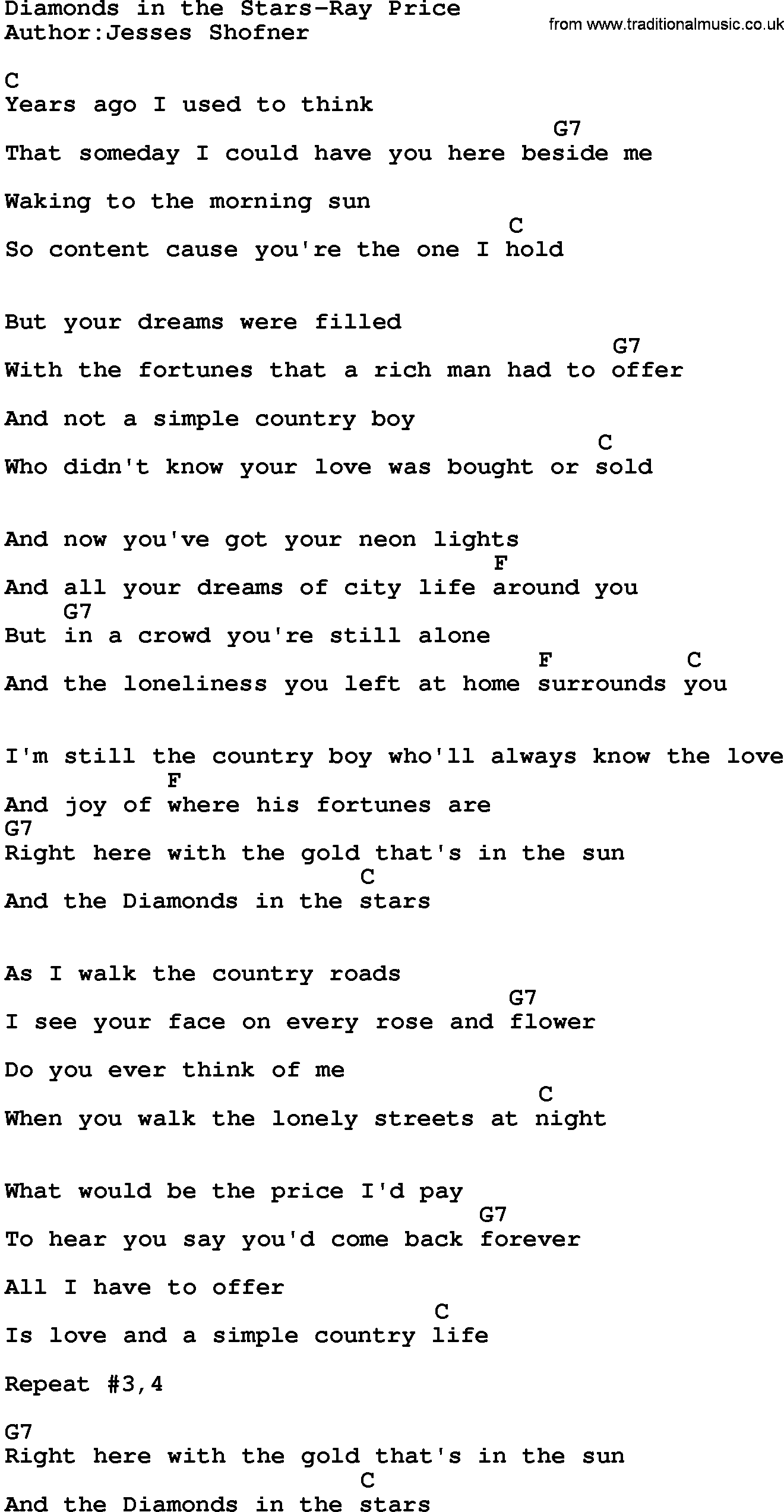 Country MusicDiamonds In The Stars Ray Price Lyrics and Chords