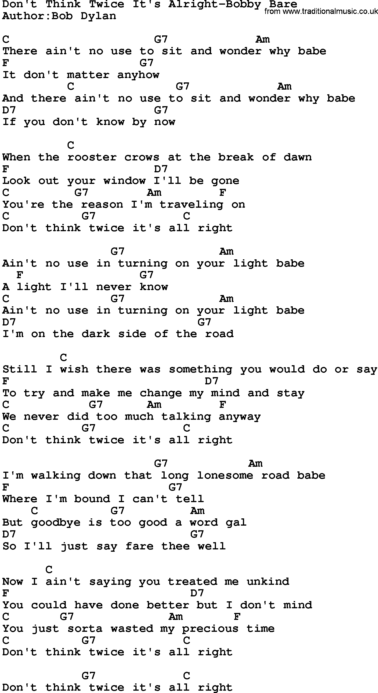 Country musicdont think twice its alright bobby bare lyrics and country musicdont think twice its alright bobby bare lyrics and chords hexwebz Images