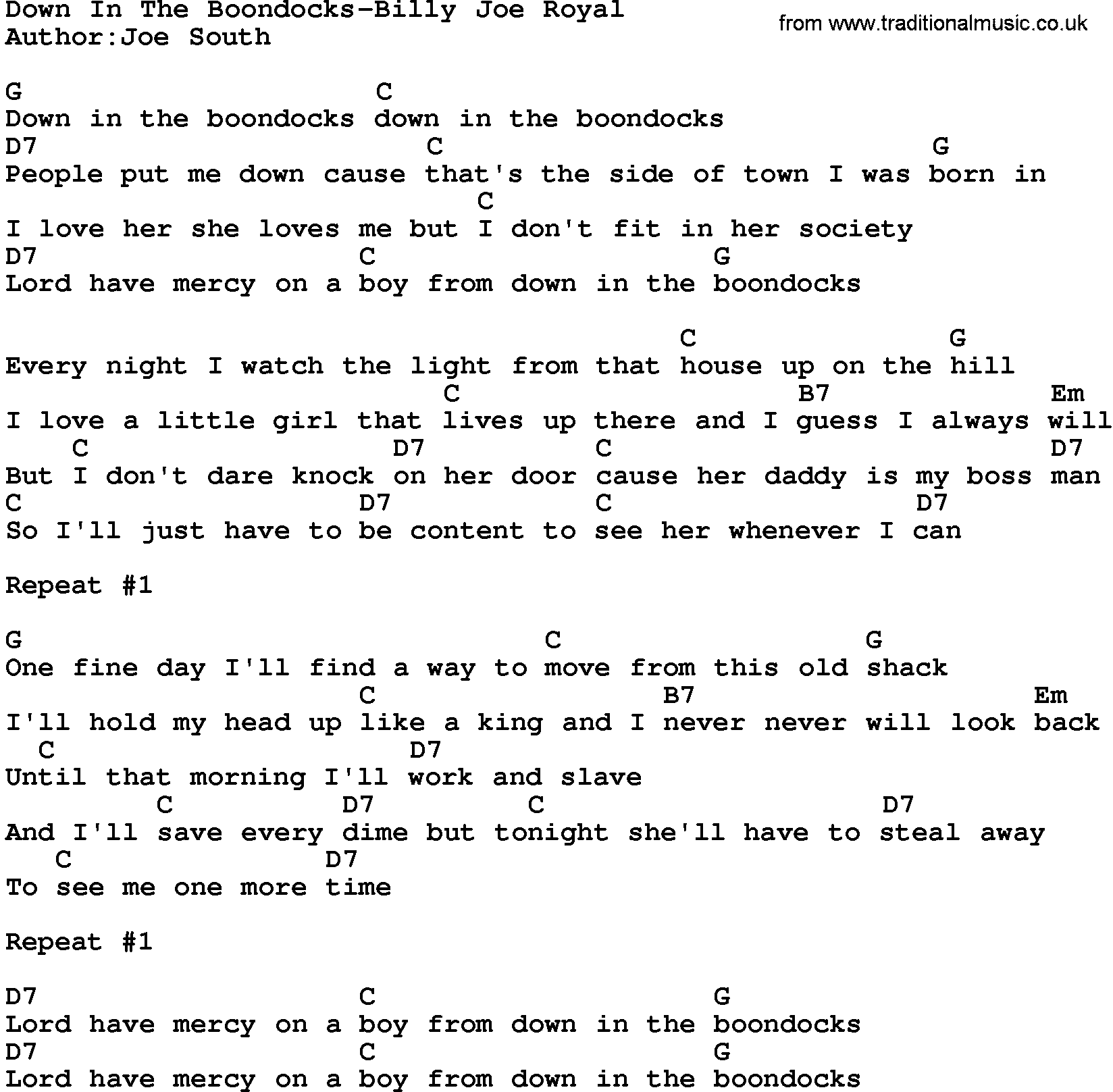 Country Musicdown In The Boondocks Billy Joe Royal Lyrics And Chords