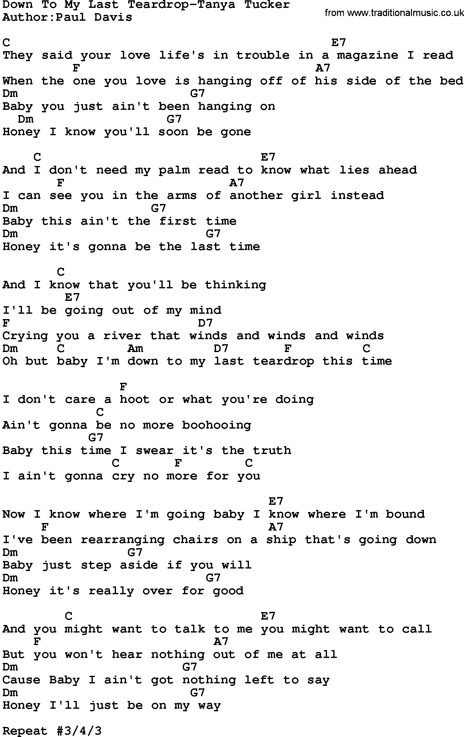 Country Musicdown To My Last Teardrop Tanya Tucker Lyrics And Chords