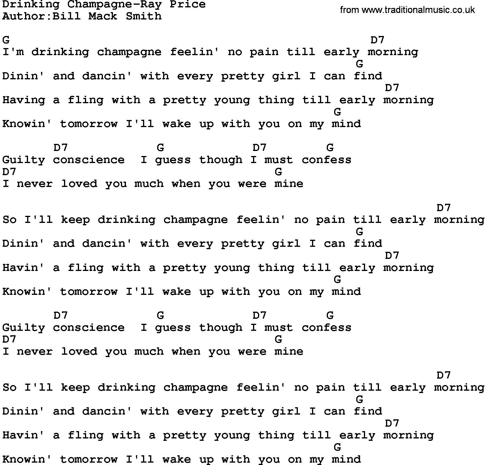 Country musicdrinking champagne ray price lyrics and chords hexwebz Image collections