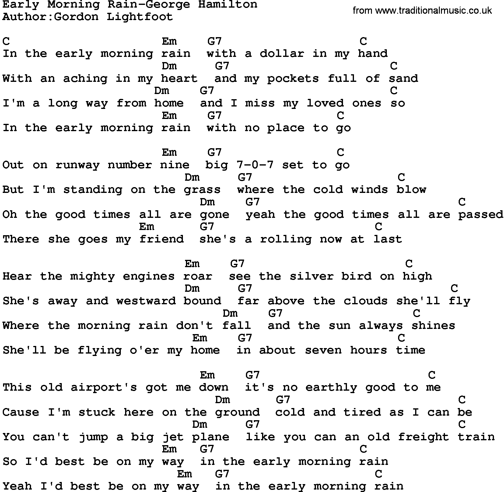 graphic about Hamilton Lyrics Printable referred to as Place New music:Early Early morning Rain-George Hamilton Lyrics and