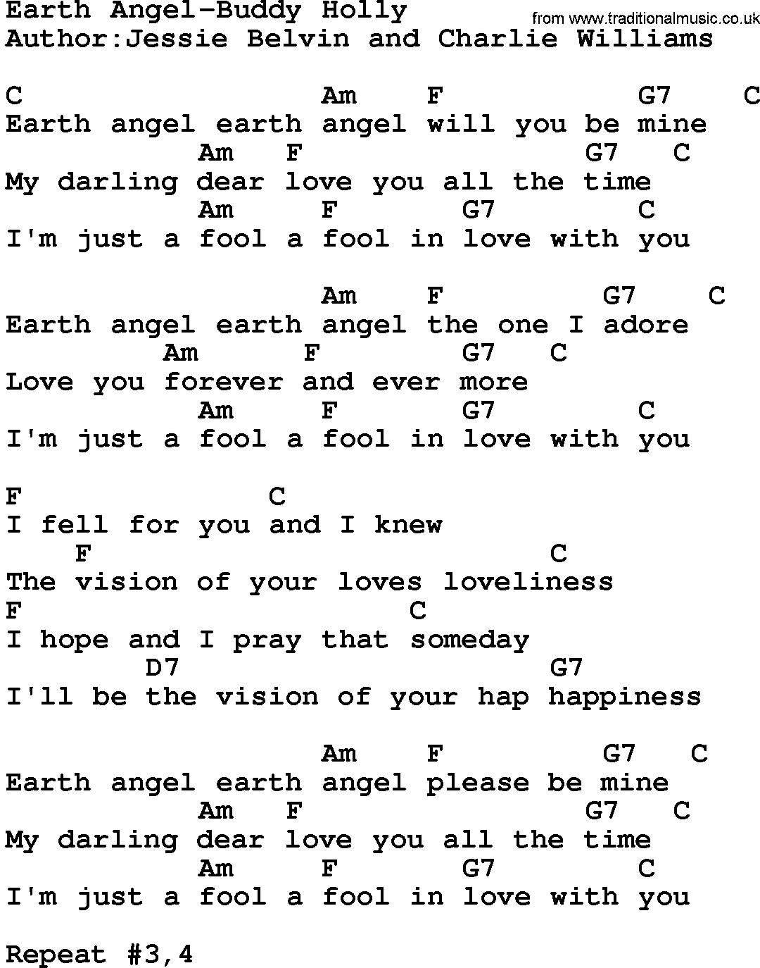 Country Musicearth Angel Buddy Holly Lyrics And Chords
