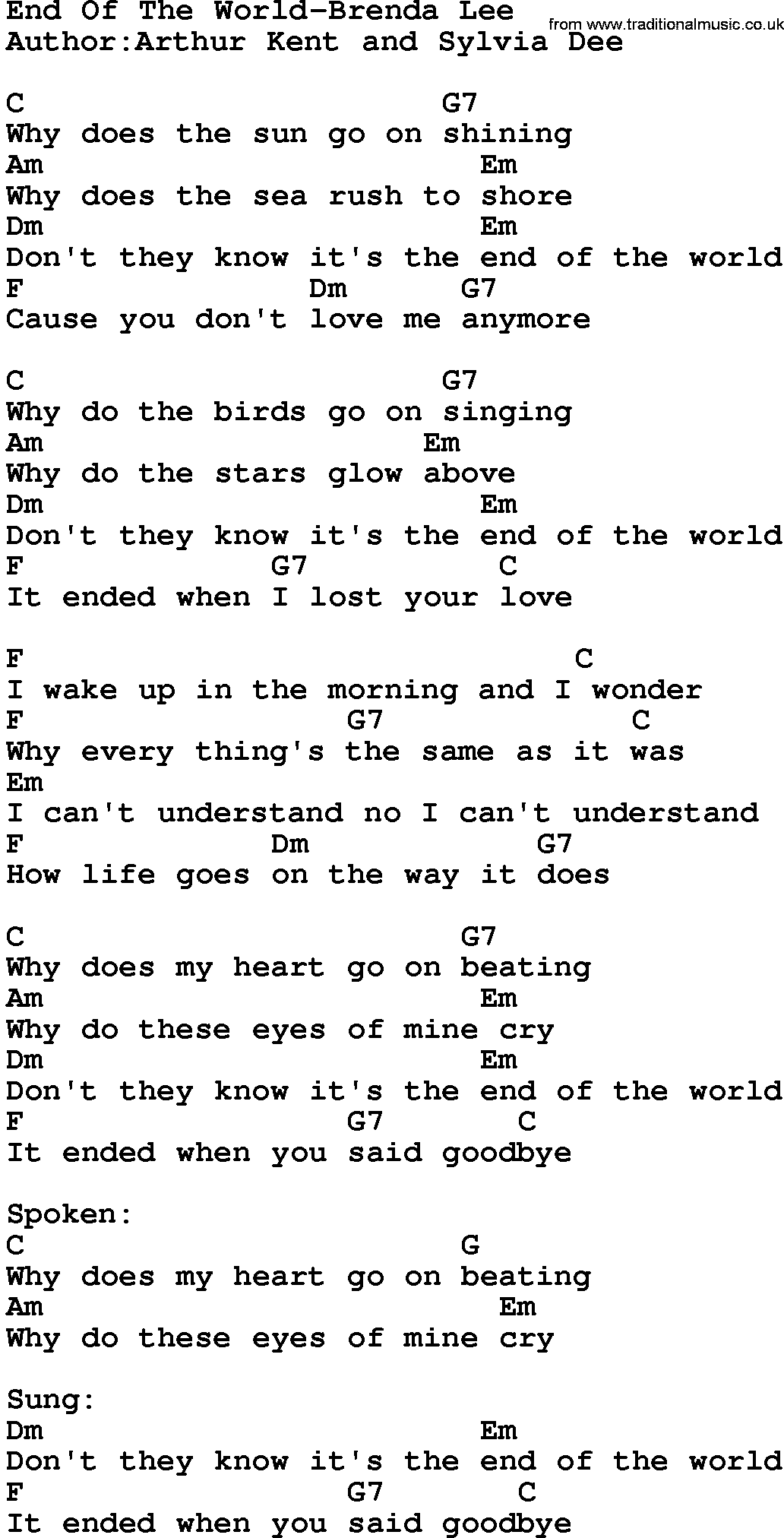 Country MusicEnd Of The World Brenda Lee Lyrics and Chords