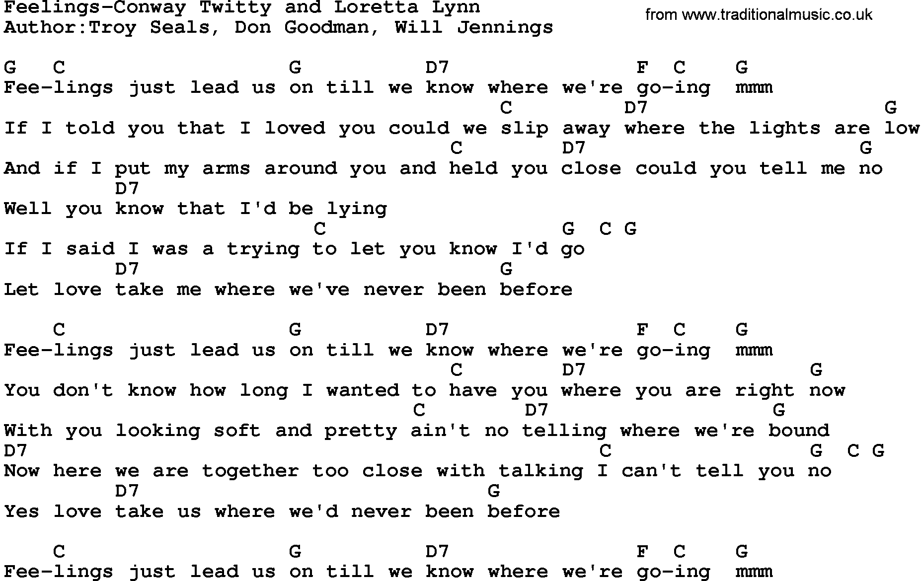 Country Musicfeelings Conway Twitty And Loretta Lynn Lyrics And Chords