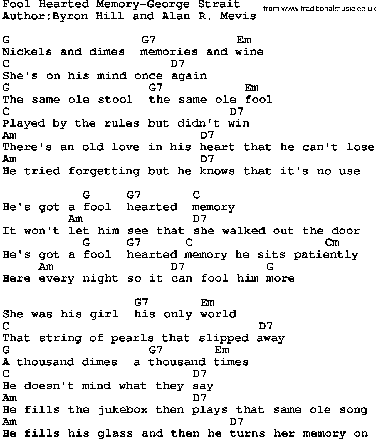 Country musicfool hearted memory george strait lyrics and chords hexwebz Choice Image