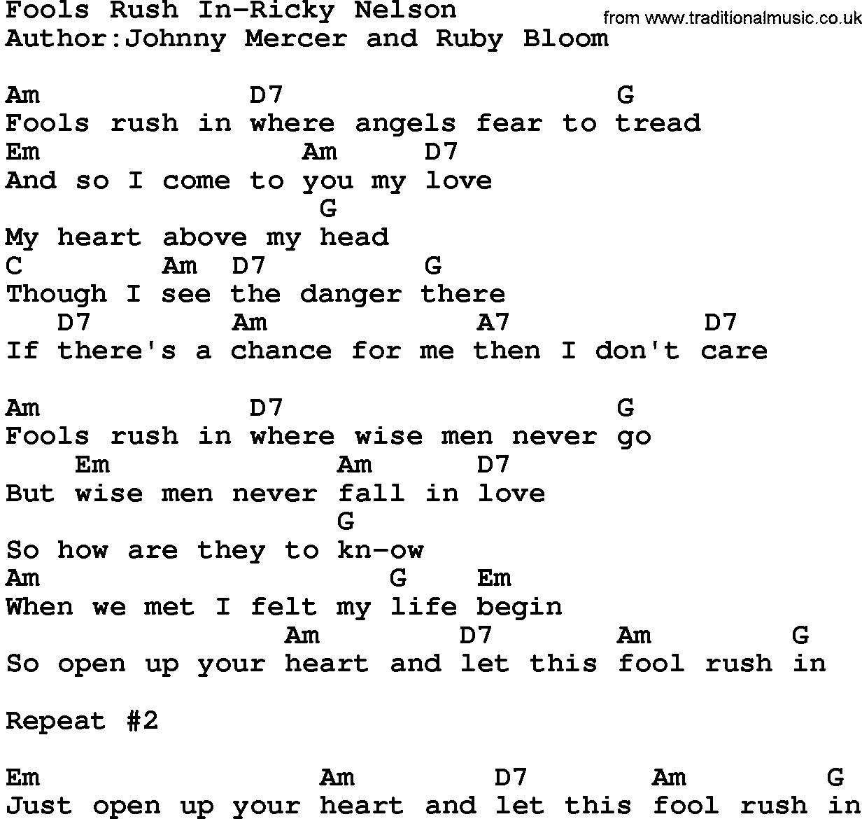 Country Music Fools Rush In Ricky Nelson Lyrics And Chords