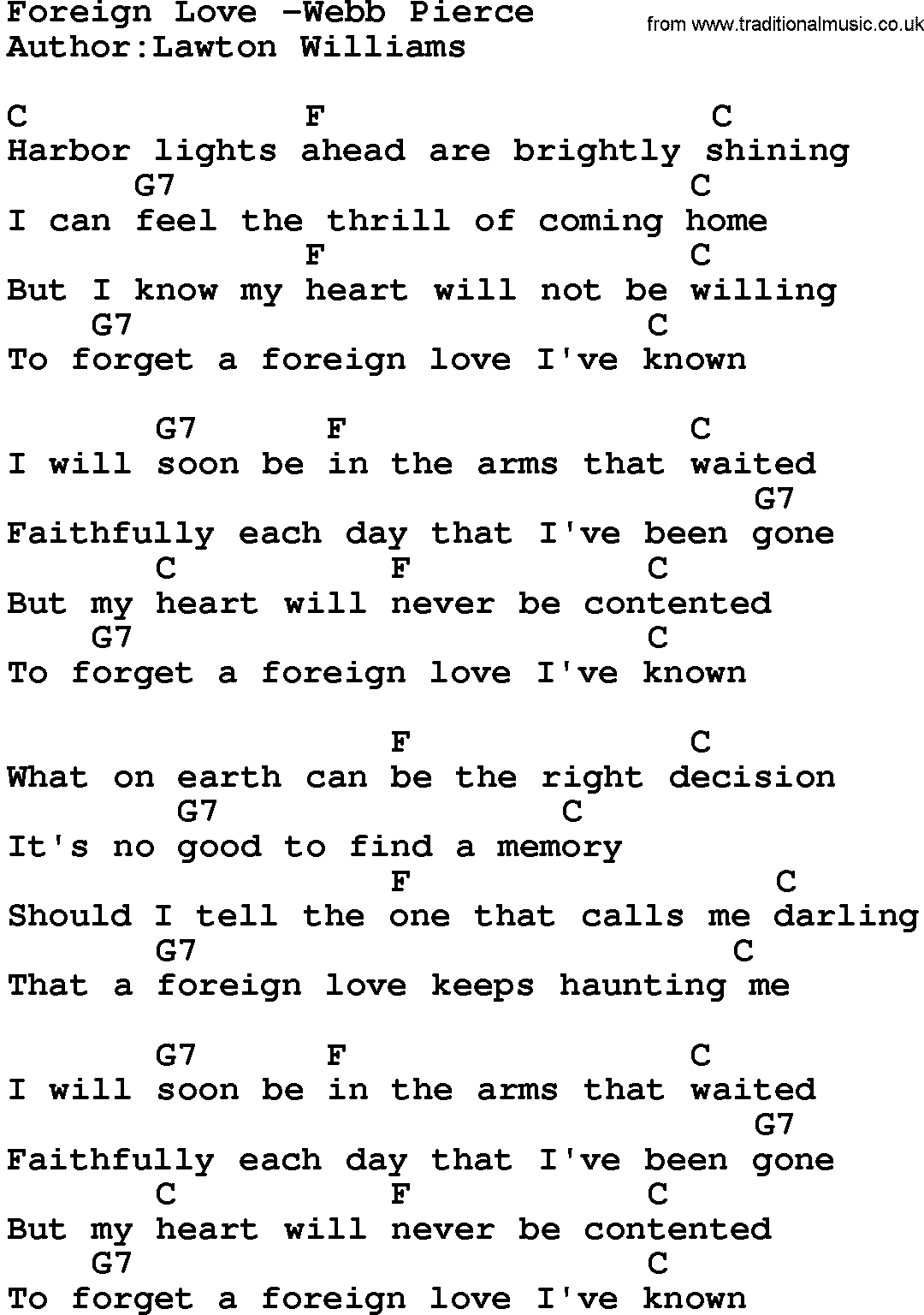 Country Musicforeign Love Webb Pierce Lyrics And Chords