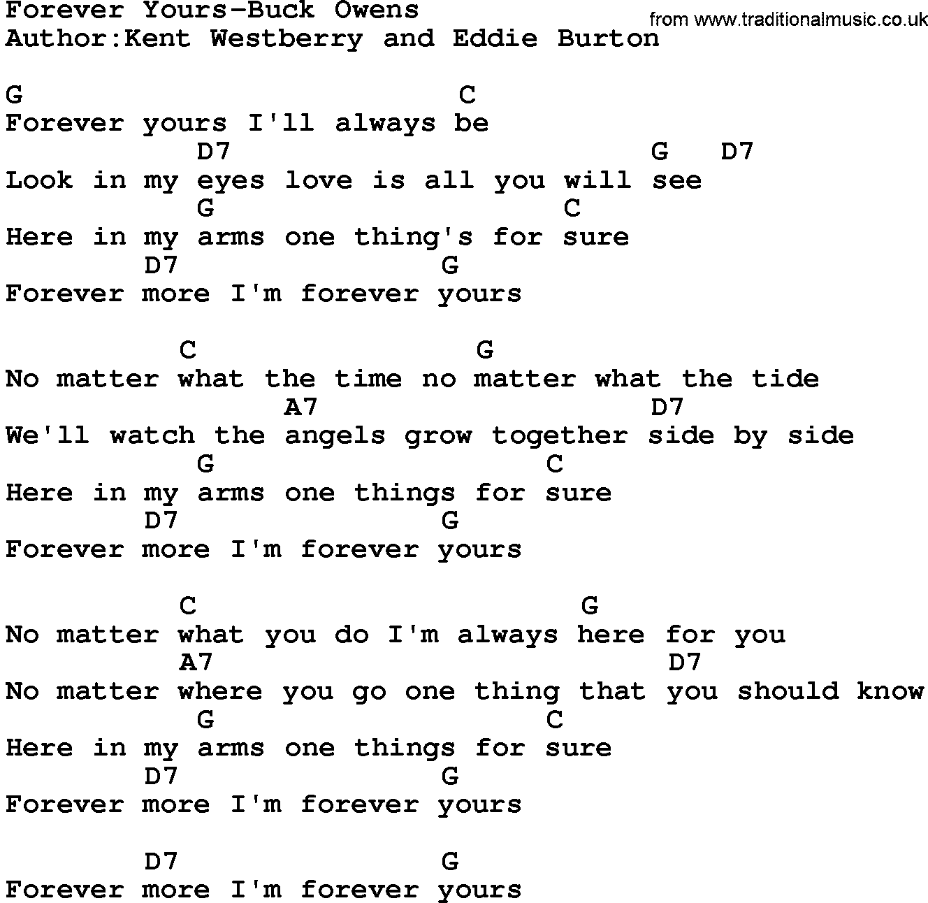 Country Music:Forever Yours-Buck Owens Lyrics And Chords