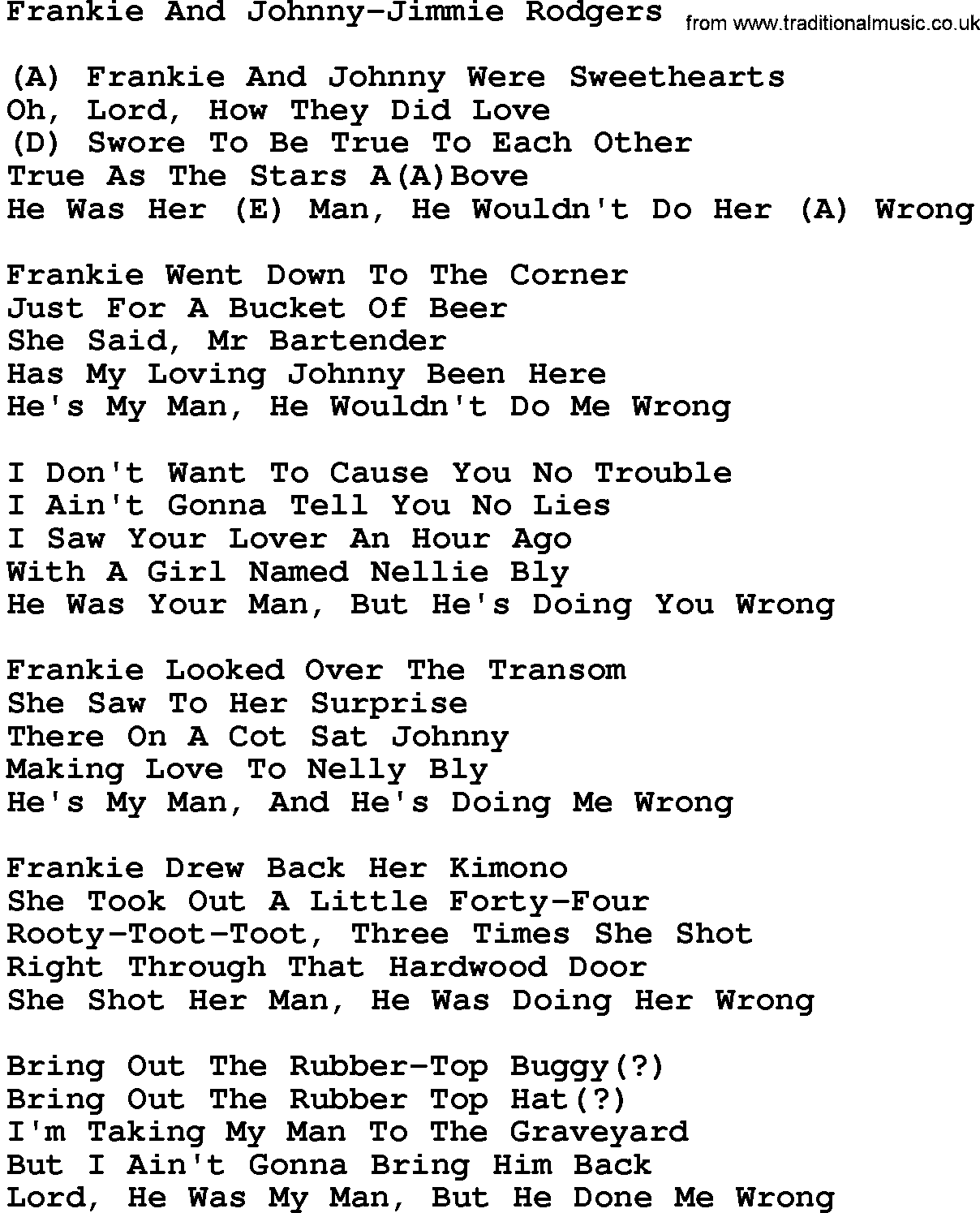 Country Musicfrankie And Johnny Jimmie Rodgers Lyrics And Chords